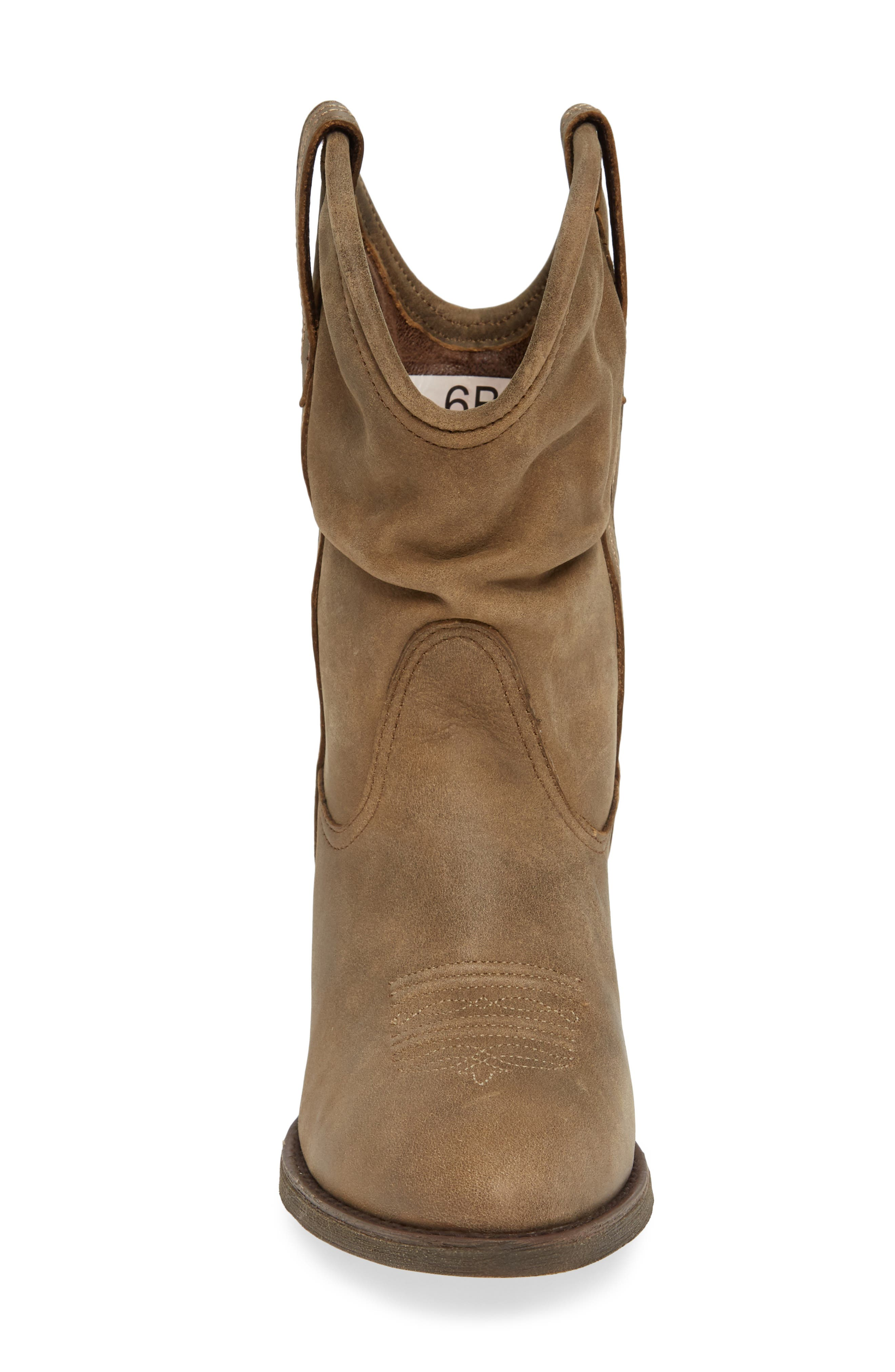 Reina Slouchy Western Boot,                             Alternate thumbnail 4, color,                             BROWN BOMBER LEATHER