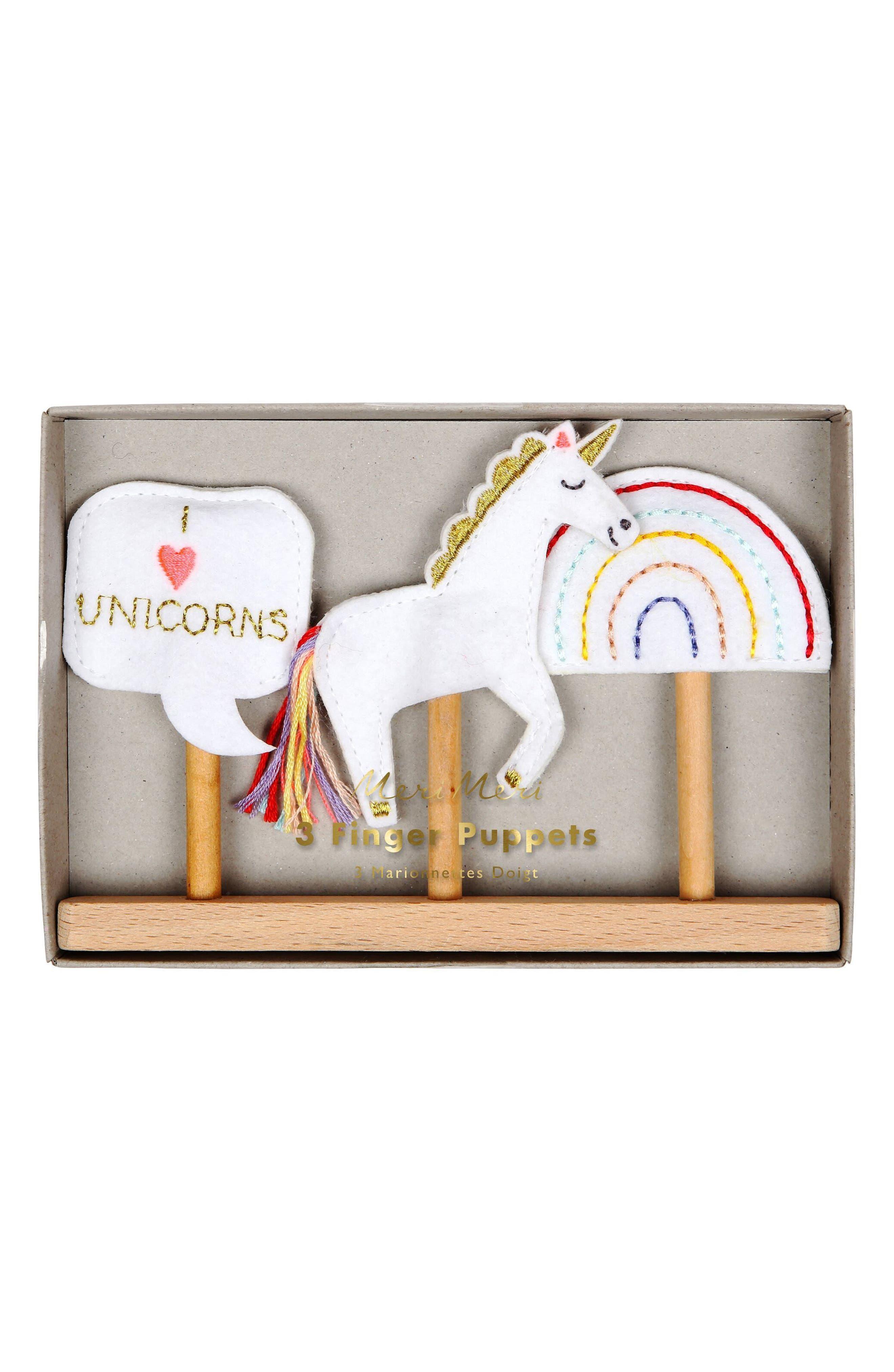 Set of 3 Unicorn Finger Puppets,                             Main thumbnail 1, color,                             000