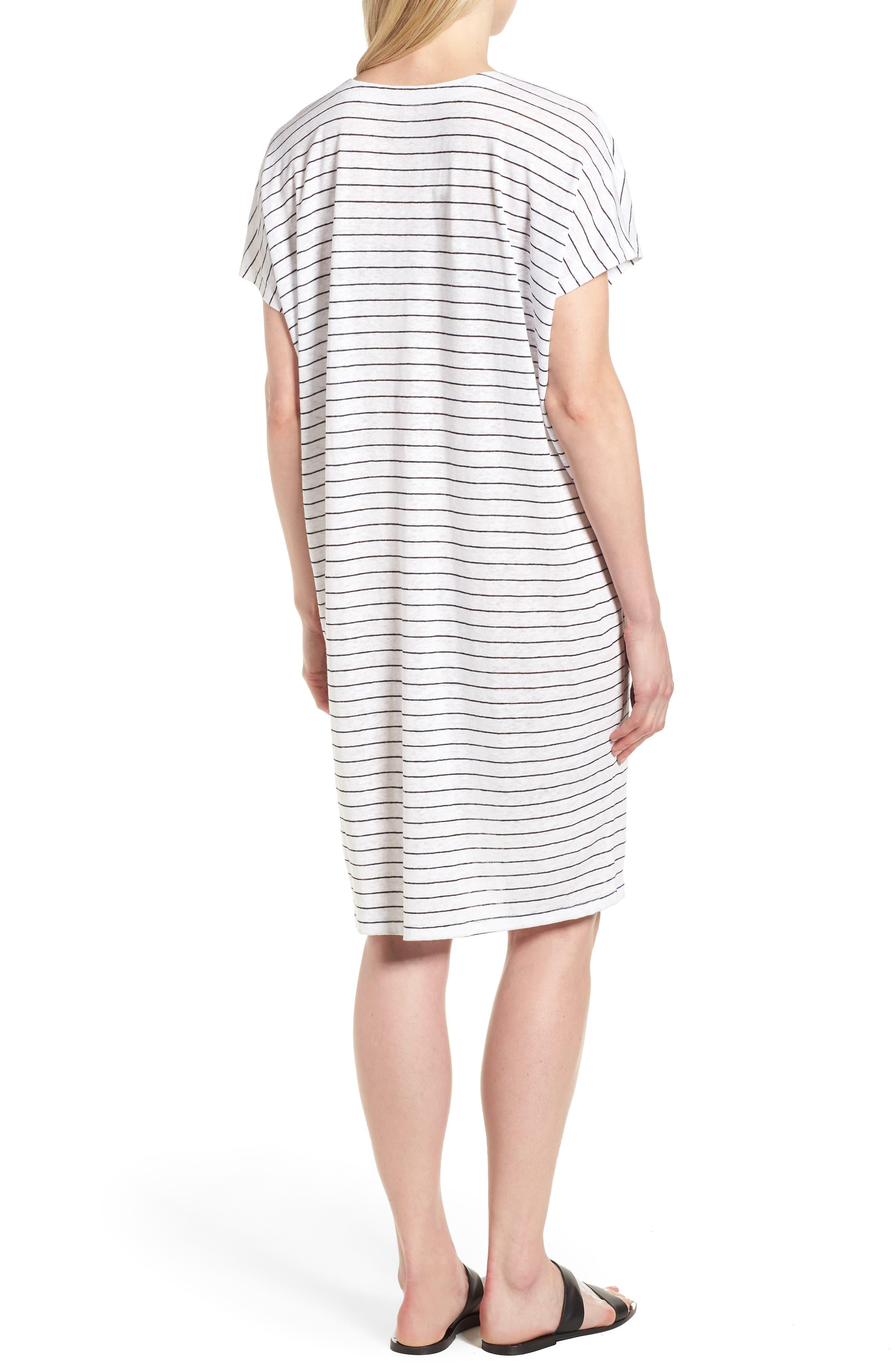 Stripe Organic Linen Shift Dress,                             Alternate thumbnail 2, color,                             120