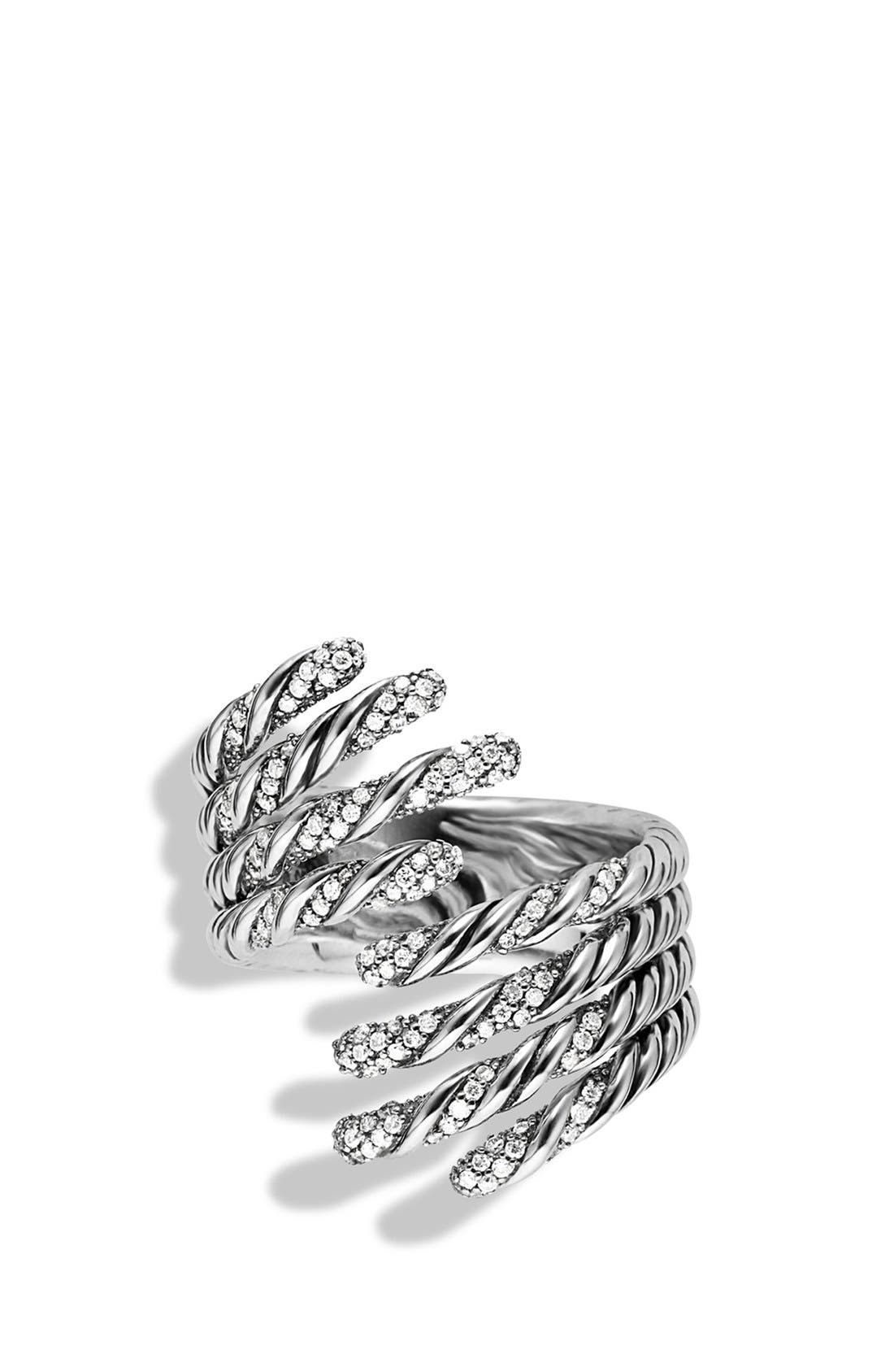 'Willow' Open Four-Row Ring with Diamonds,                             Alternate thumbnail 3, color,                             040