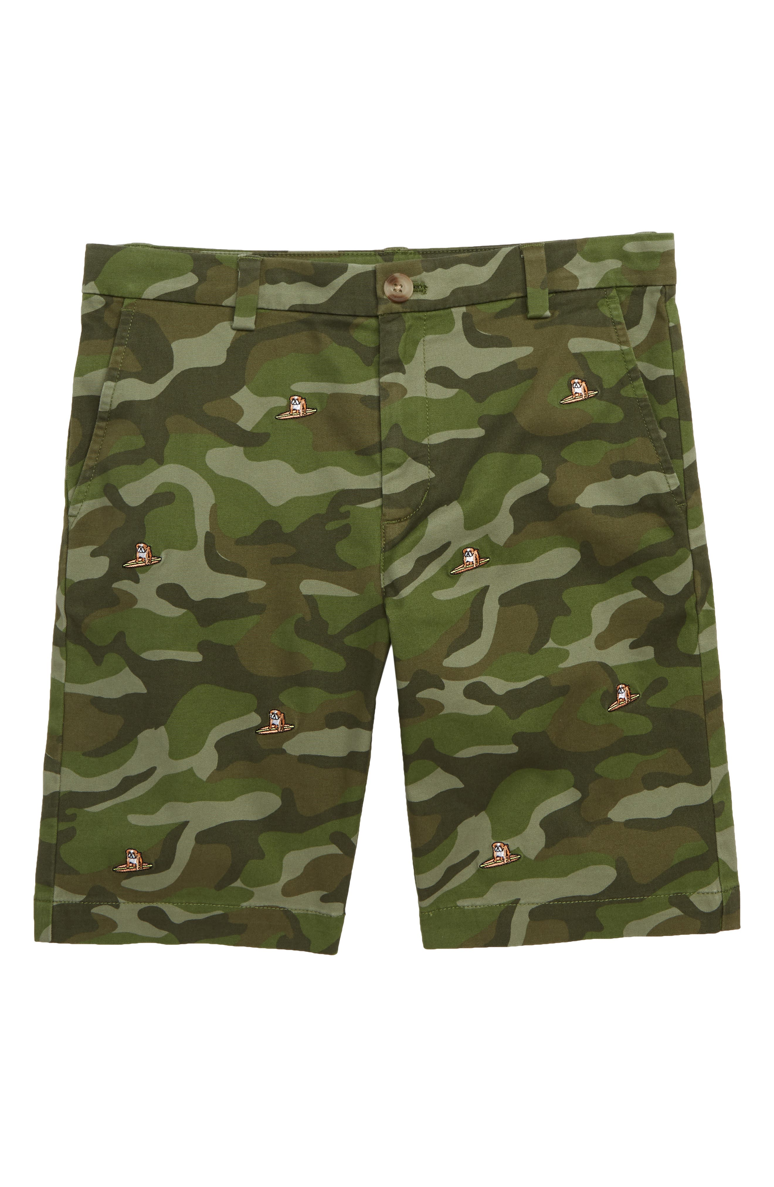 Stretch Breaker Whale Embroidered Shorts,                             Main thumbnail 1, color,                             SPANISH MOSS