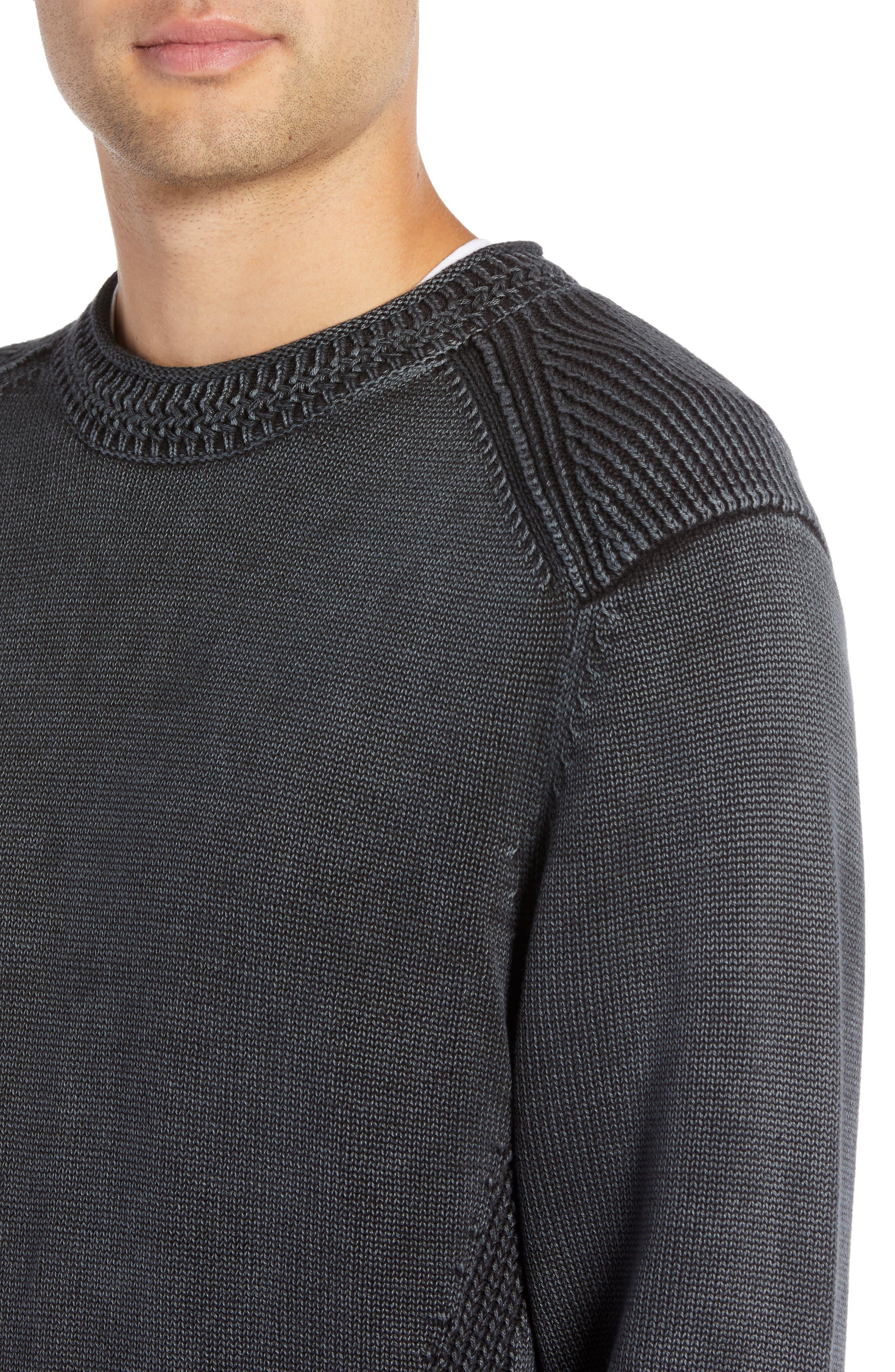 Washed Crewneck Sweater,                             Alternate thumbnail 4, color,                             BLACK ROCK