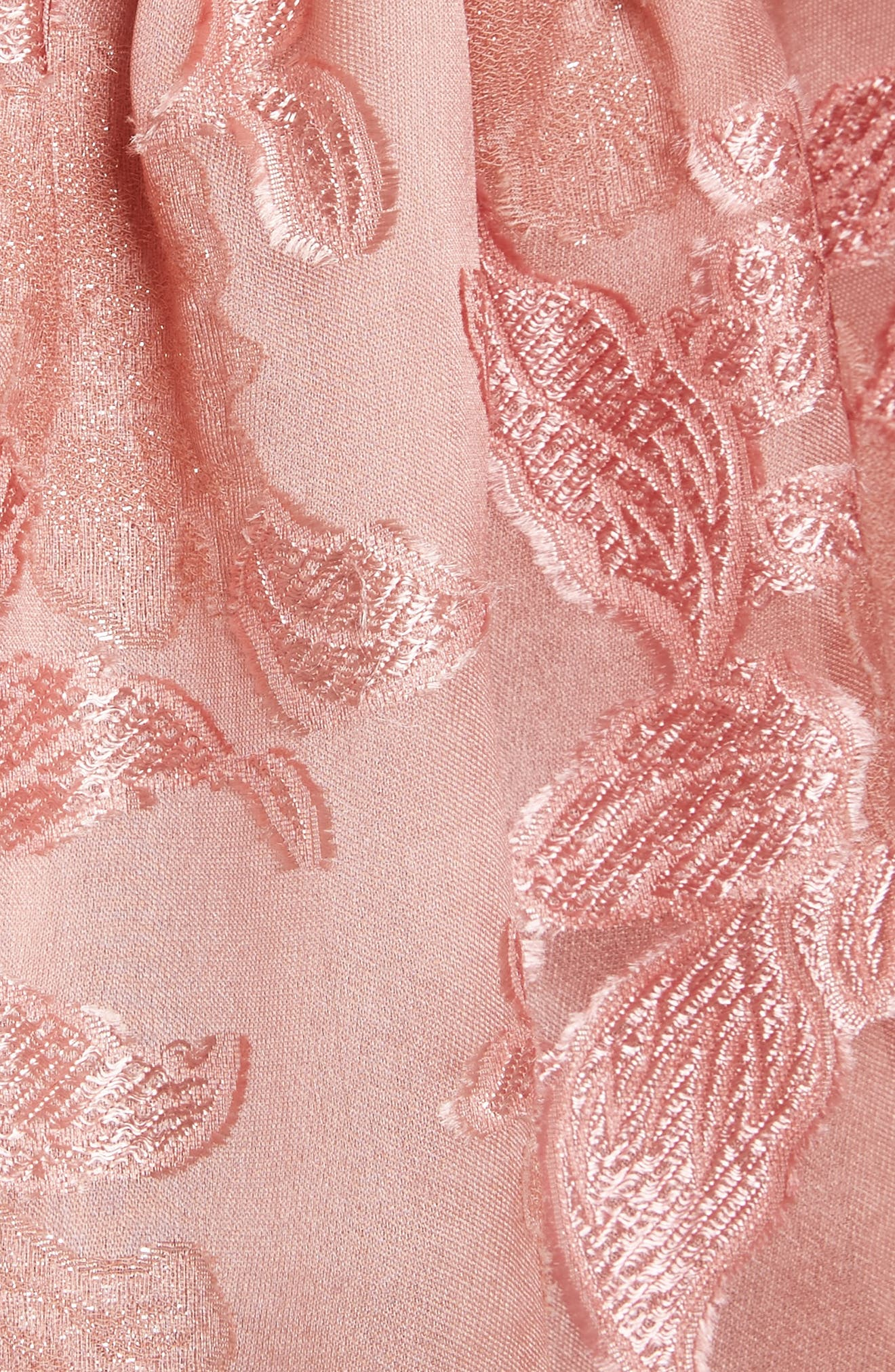 Off the Shouler Metallic Floral Organza Blouse,                             Alternate thumbnail 5, color,                             672