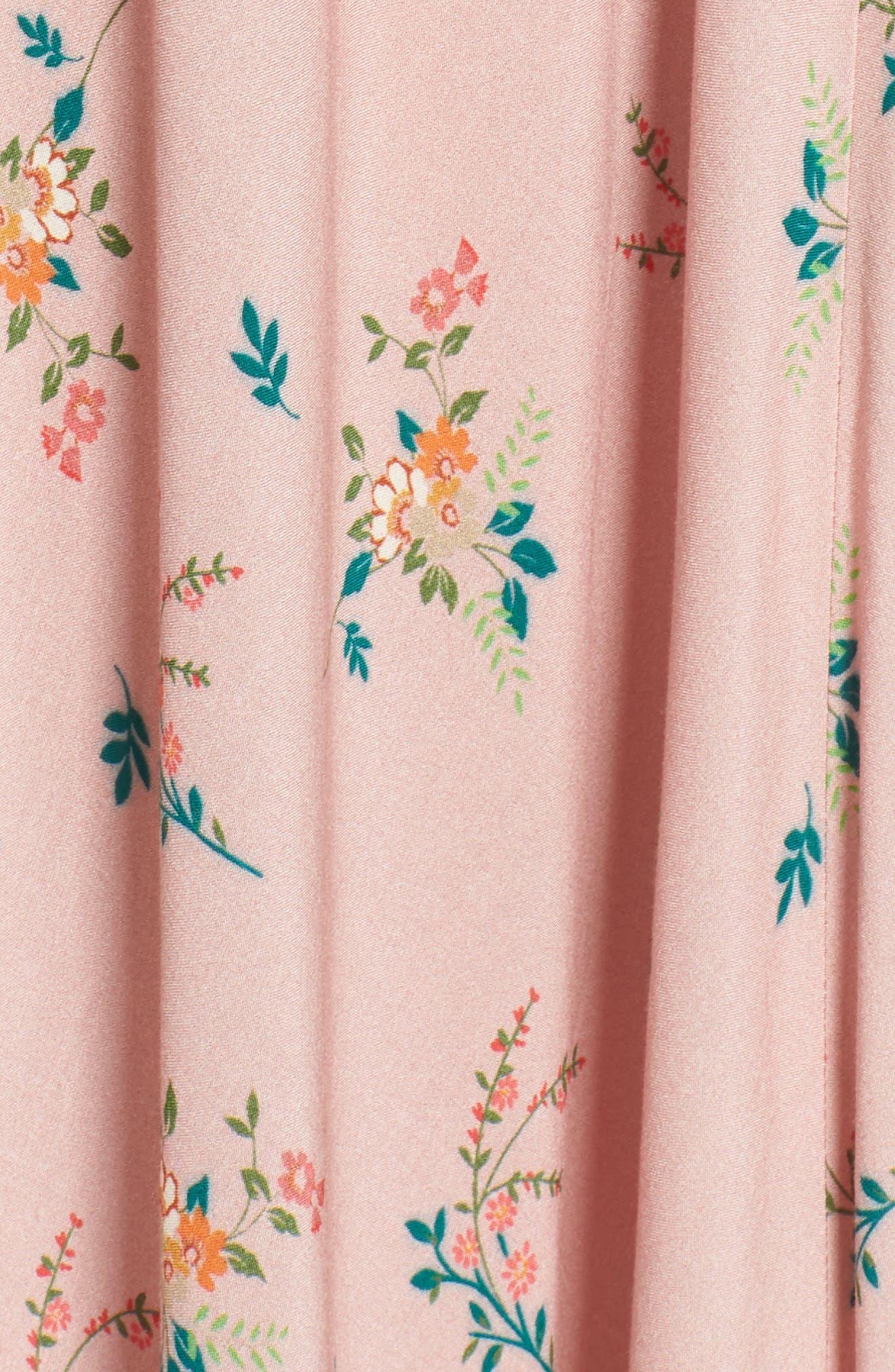 Floral Print Midi Skirt,                             Alternate thumbnail 5, color,                             657