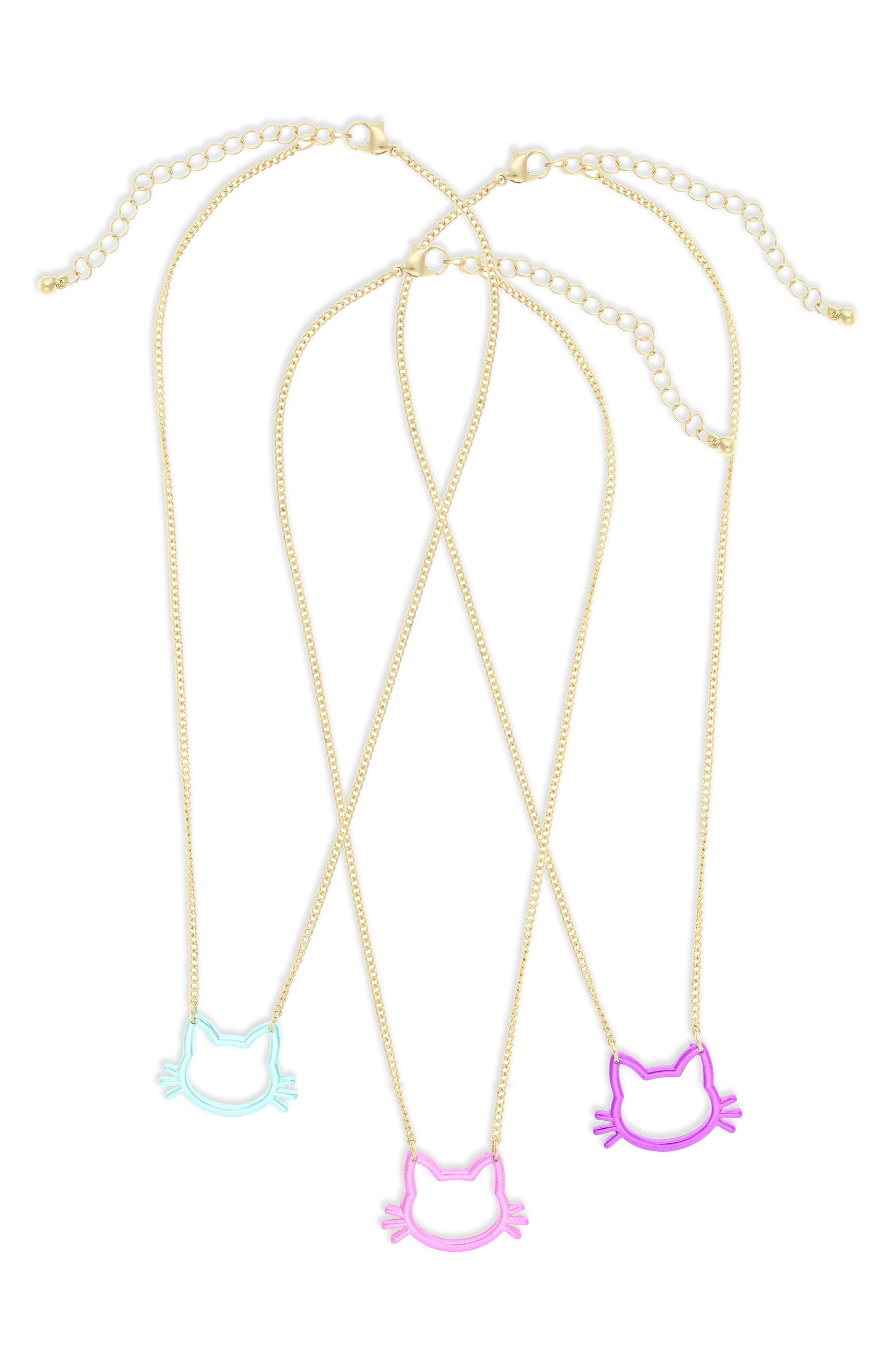 Set of 3 Cat Pendant Necklaces,                         Main,                         color, 655