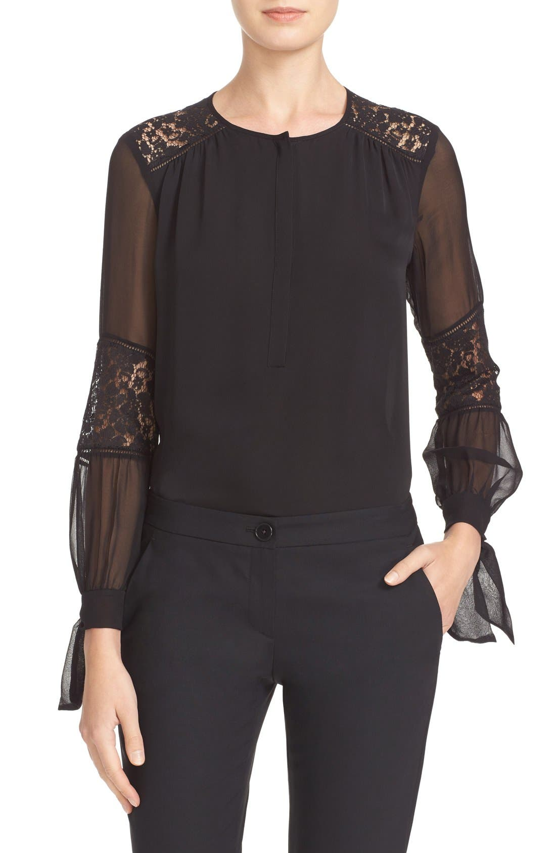'Sarah' Silk Blouse, Main, color, 001