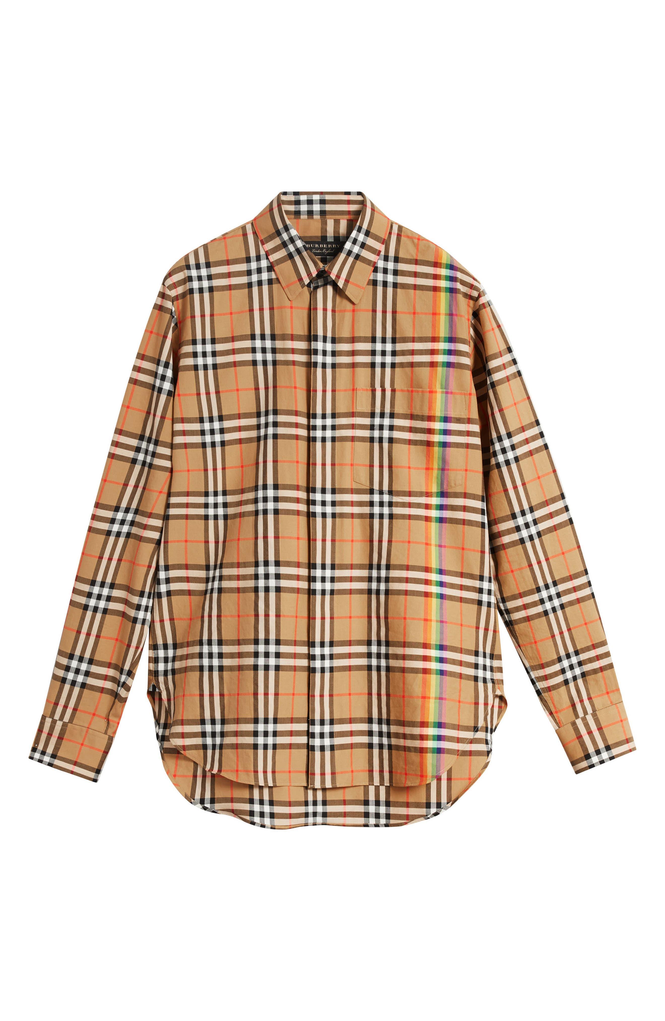 BURBERRY,                             Rainbow Check Shirt,                             Alternate thumbnail 5, color,                             254