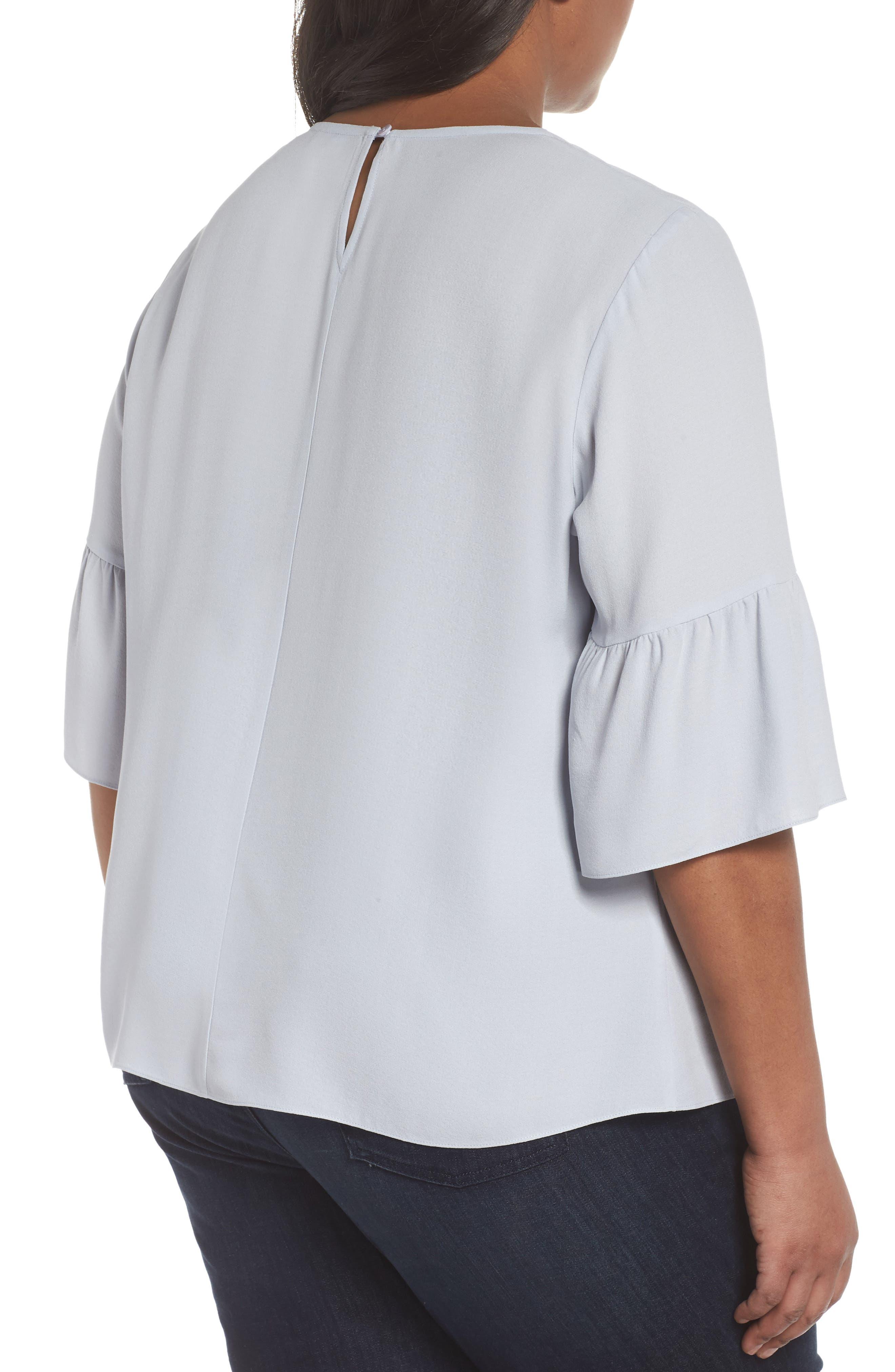 Ruffled Sleeve Silk Top,                             Alternate thumbnail 6, color,