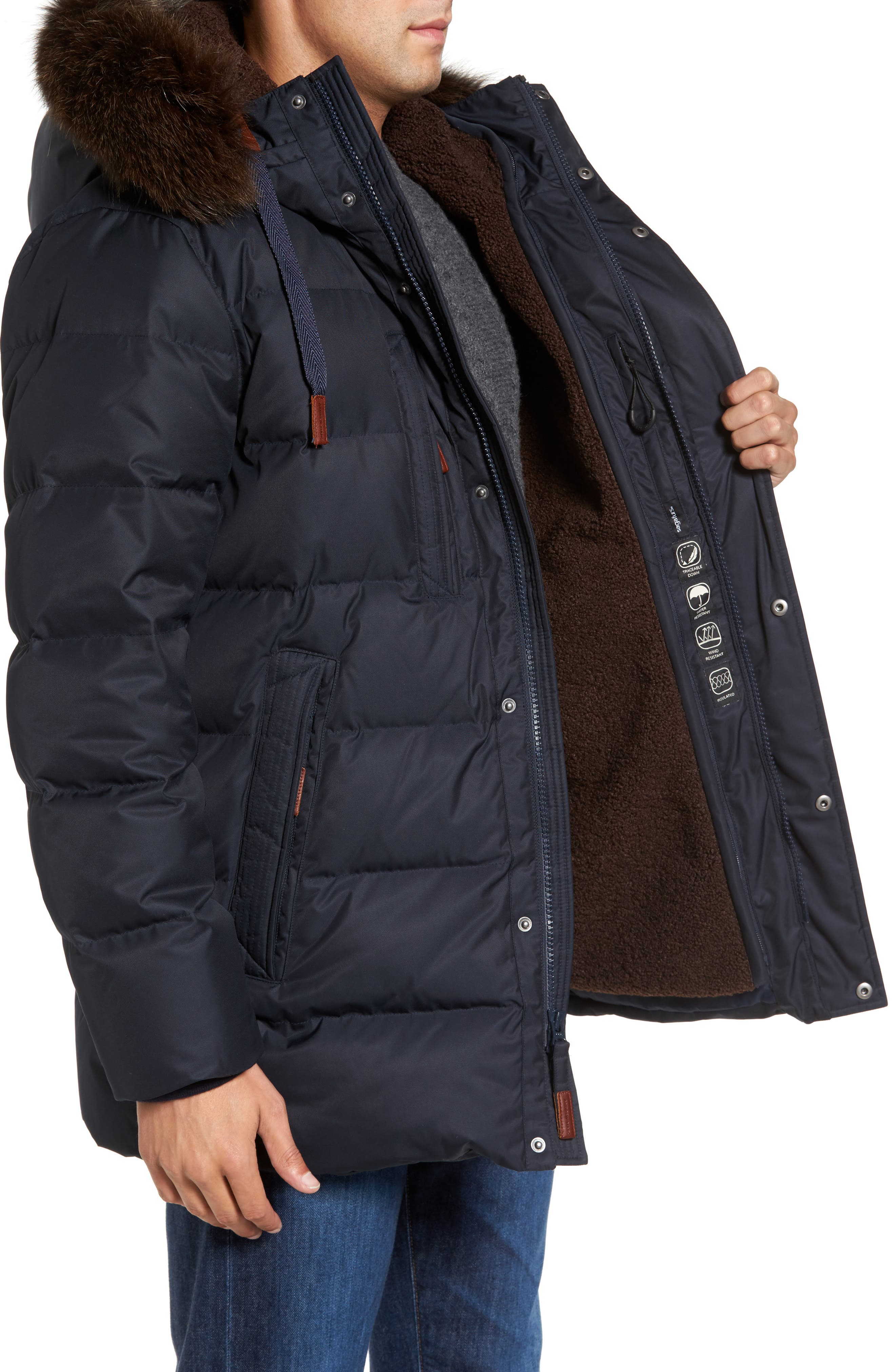 Quilted Down Jacket with Genuine Fox Fur Trim,                             Alternate thumbnail 6, color,