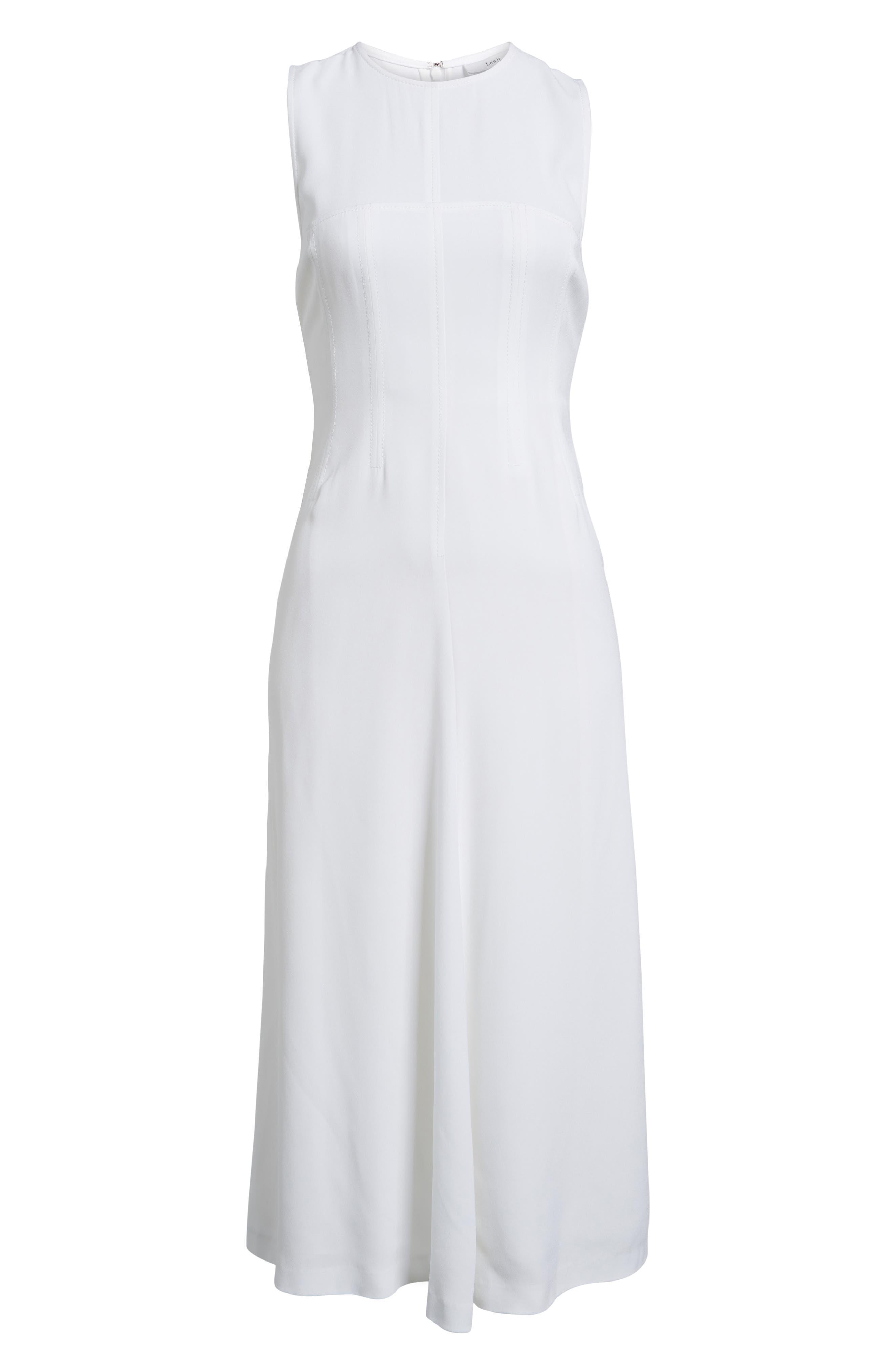 Corset Detail Midi Dress,                             Alternate thumbnail 6, color,                             100