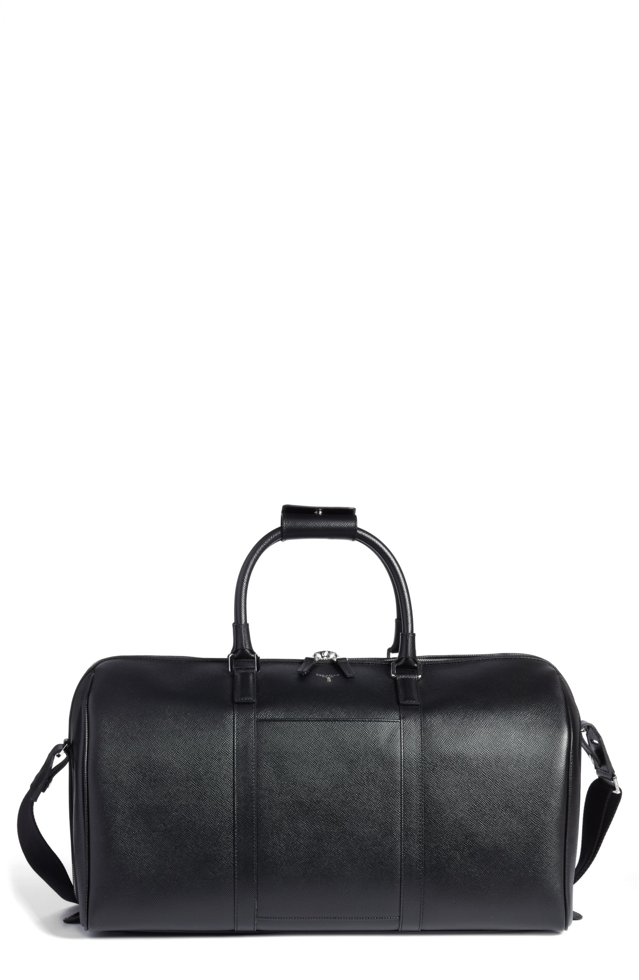 SERAPIAN MILANO Small Holdall Evolution Leather Satchel, Main, color, 001