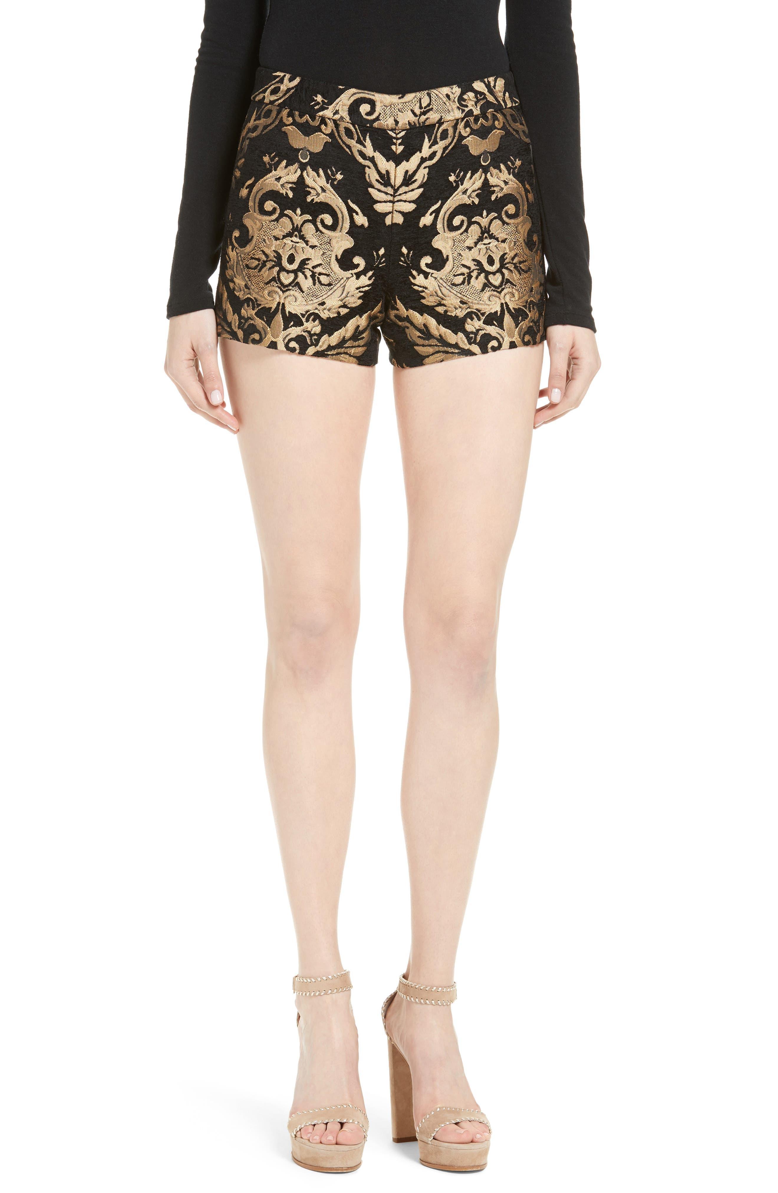 ALICE + OLIVIA Marisa Brocade Shorts, Main, color, 001