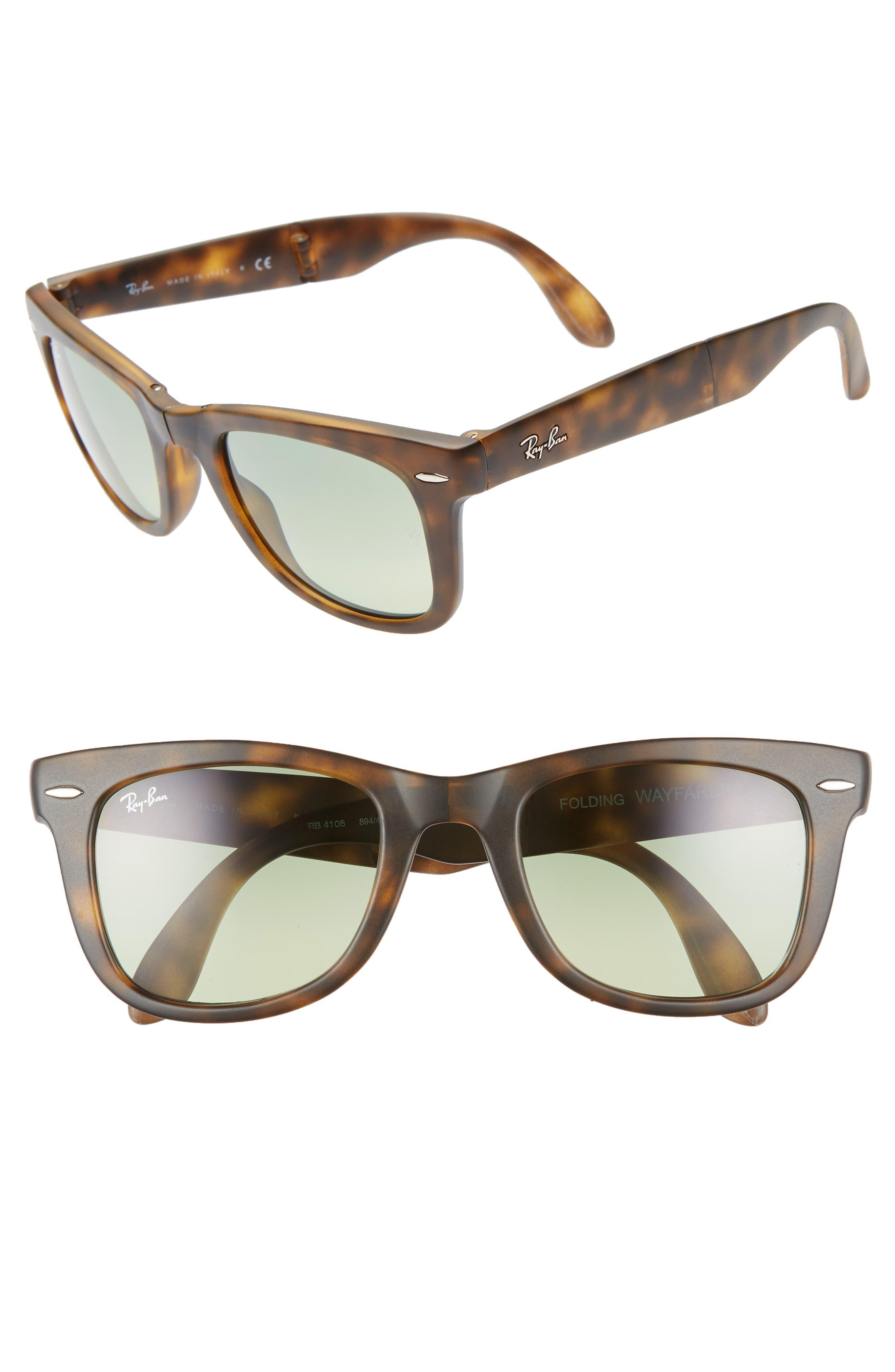 Ray-Ban  Folding Wayfarer  50Mm Sunglasses - Green Havana 81ade84a473b