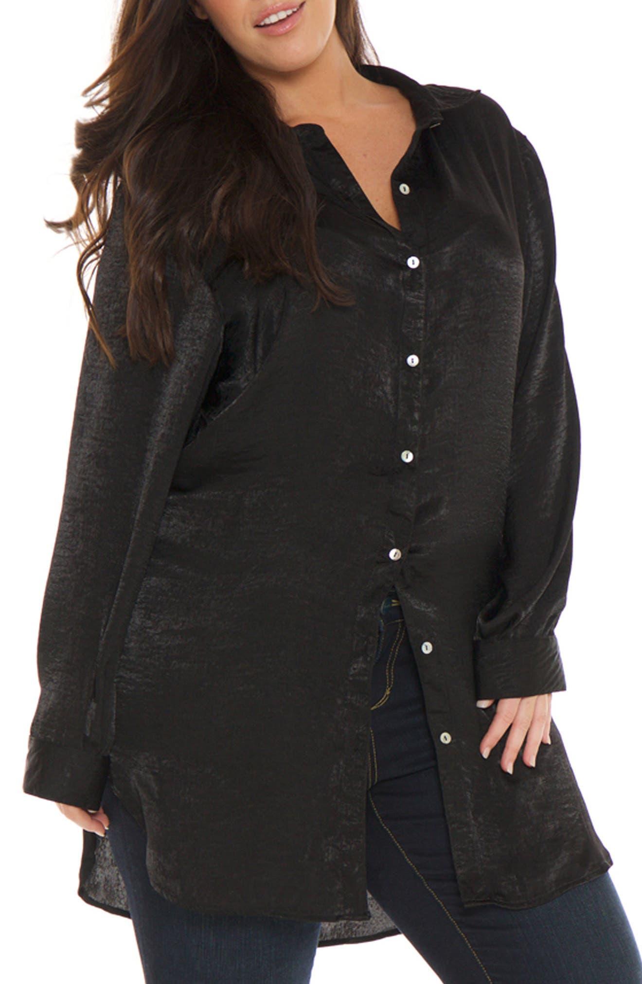 Hammered Satin Tunic Shirt,                         Main,                         color, 001