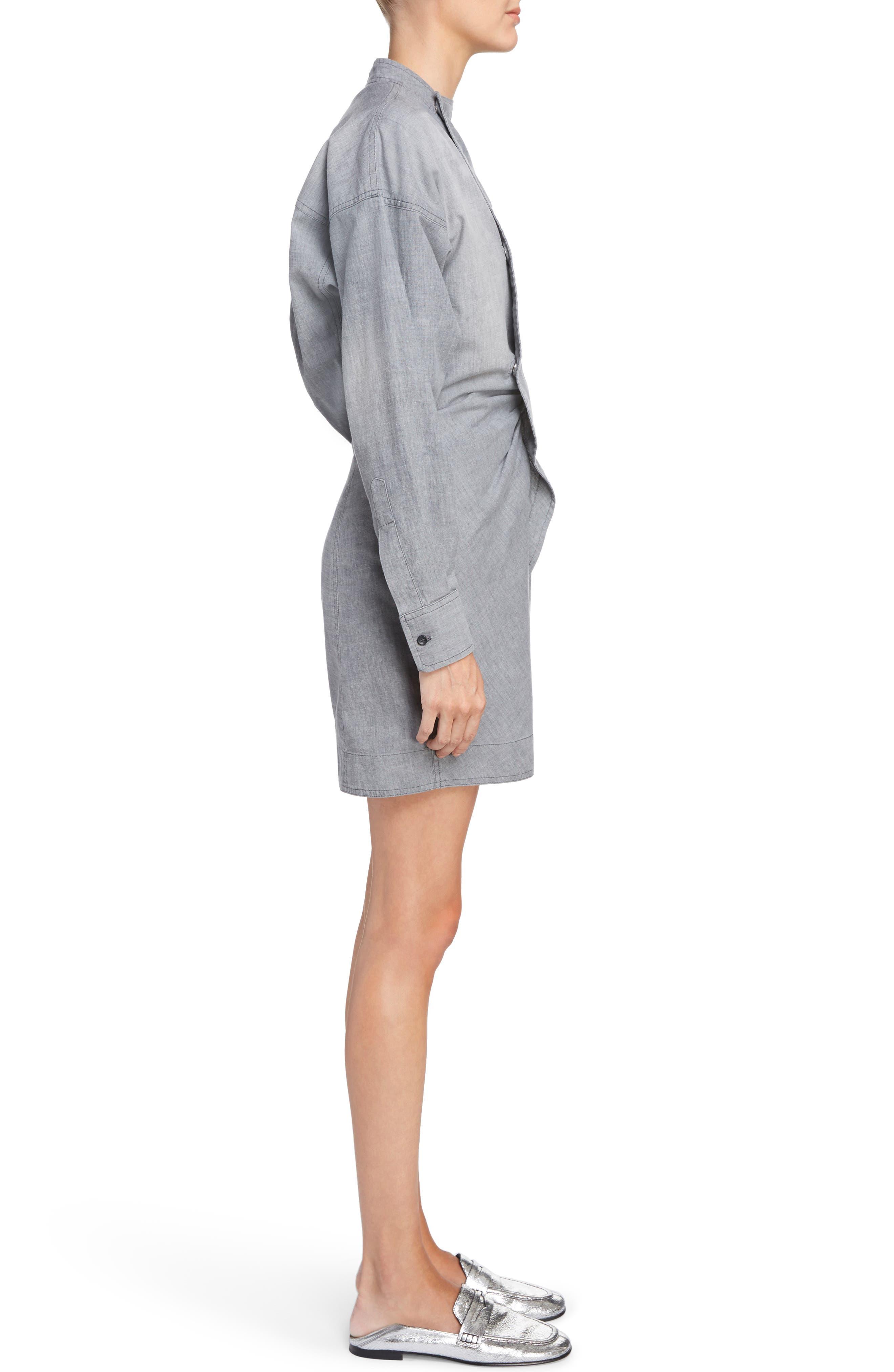 Isabel Marant Étoile Lindsey Chambray Dress,                             Alternate thumbnail 3, color,                             020