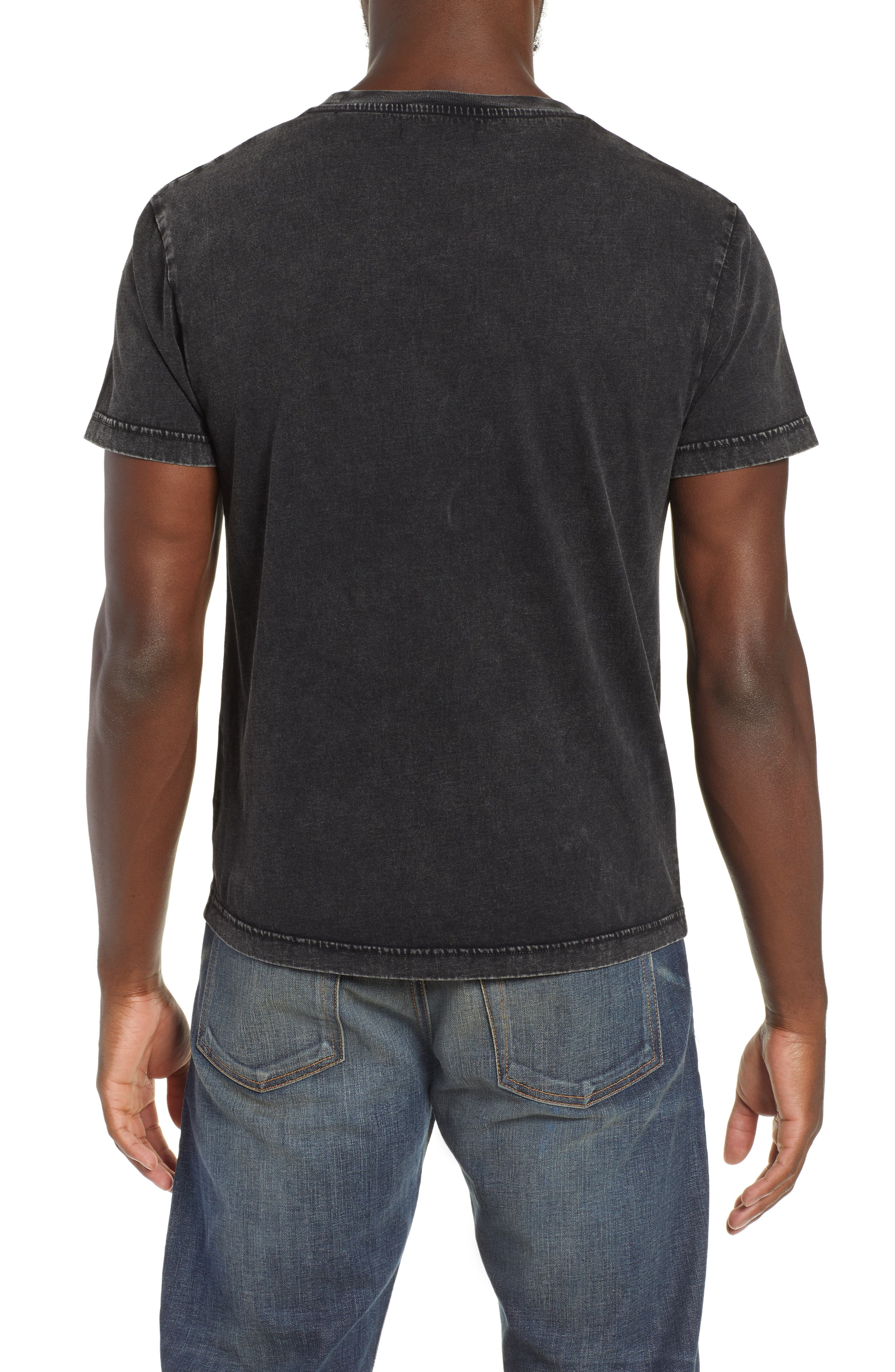 Double-F Logo Acid Wash T-Shirt,                             Alternate thumbnail 2, color,                             JET BLACK ACID WASH