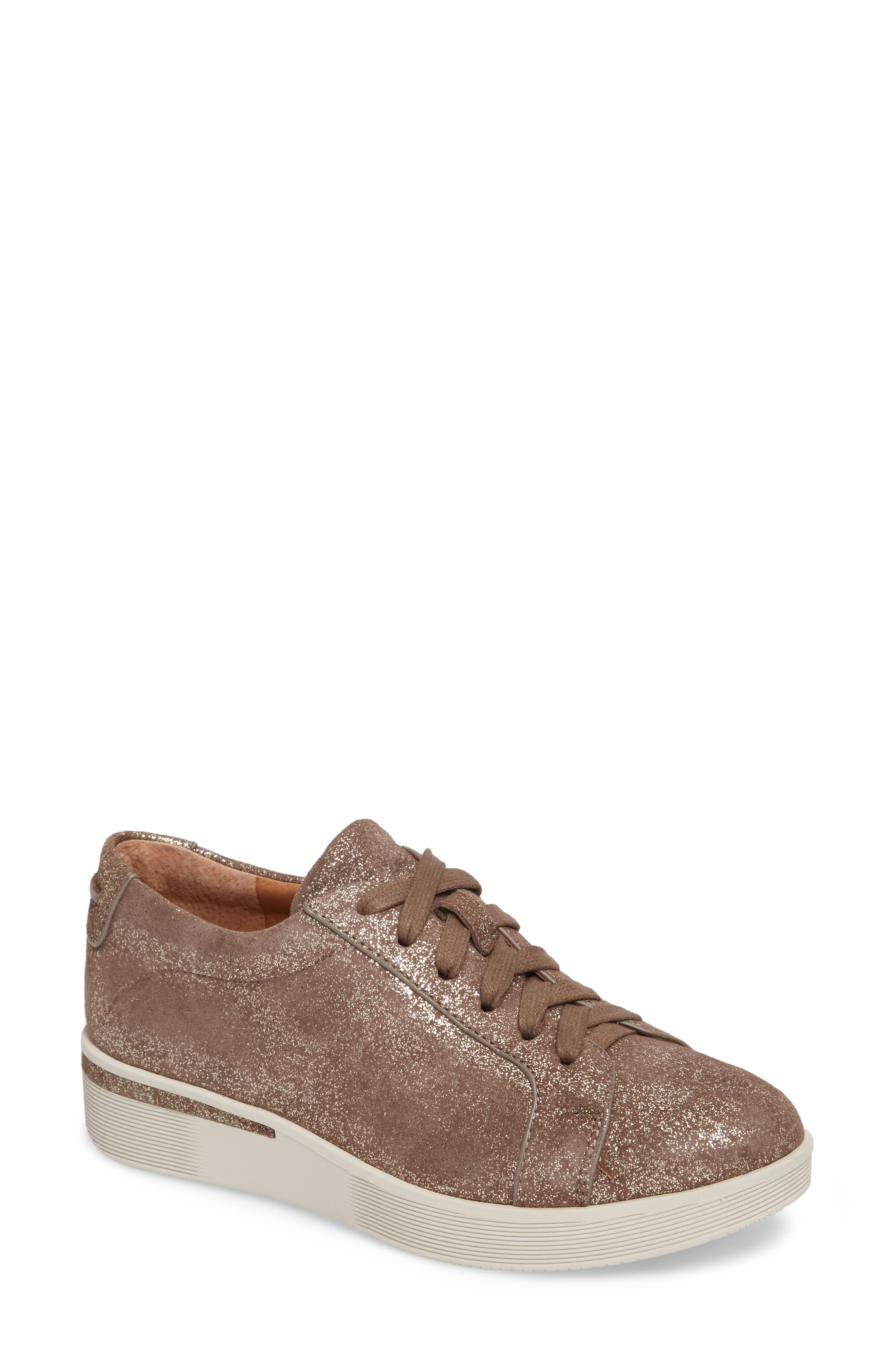 by Kenneth Cole Haddie Low Platform Sneaker,                             Main thumbnail 1, color,                             COCOA METALLIC LEATHER