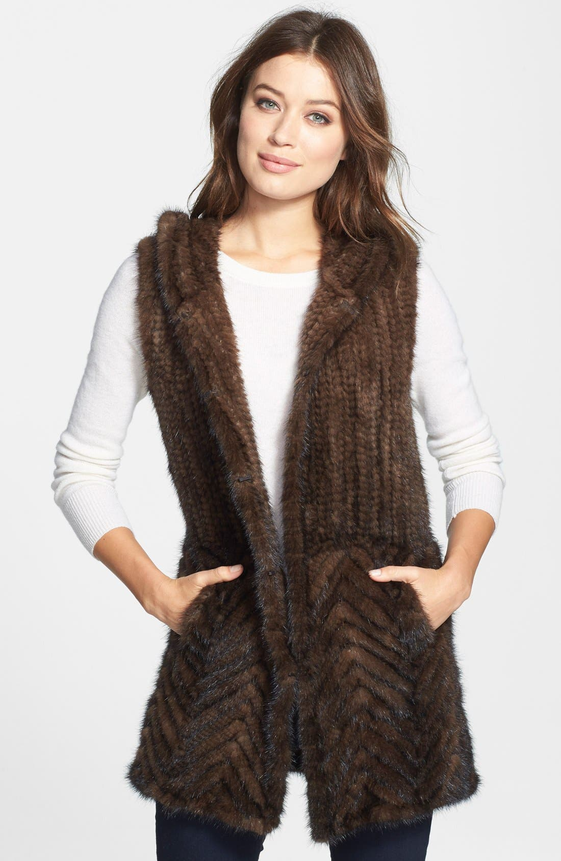 Knitted Genuine Mink Hooded Vest,                             Main thumbnail 1, color,                             200
