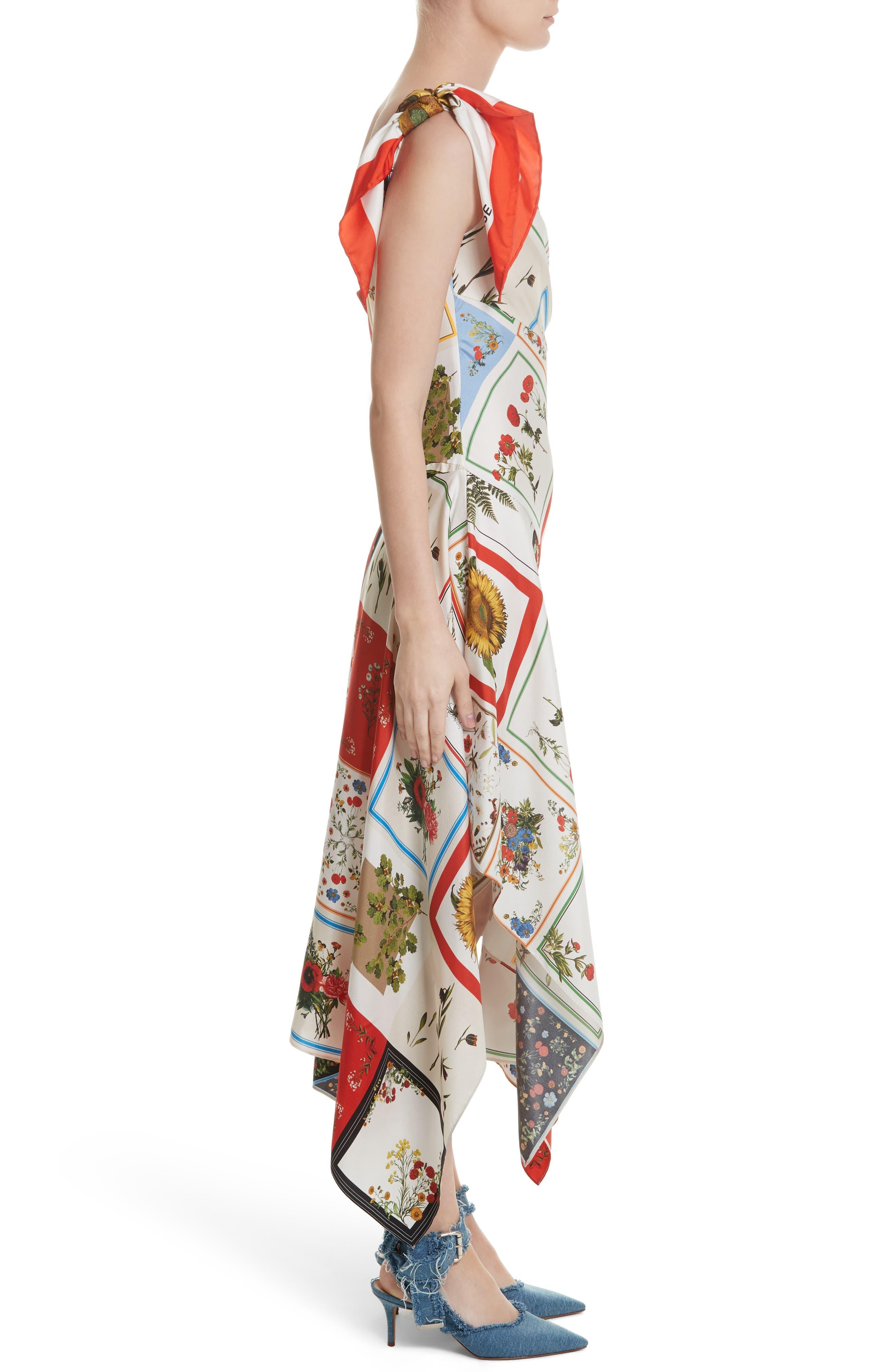 Patchwork Silk One-Shoulder Dress,                             Alternate thumbnail 3, color,                             908