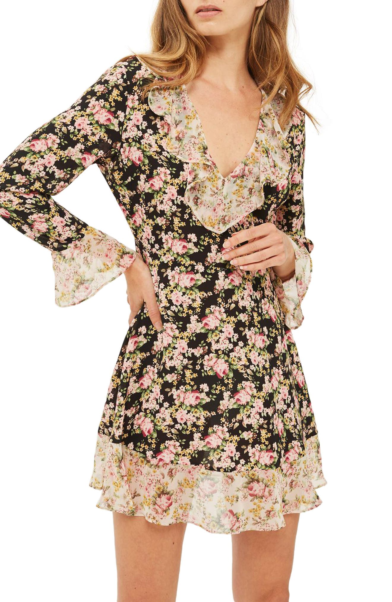 True Romance Ruffle Minidress,                         Main,                         color, 001