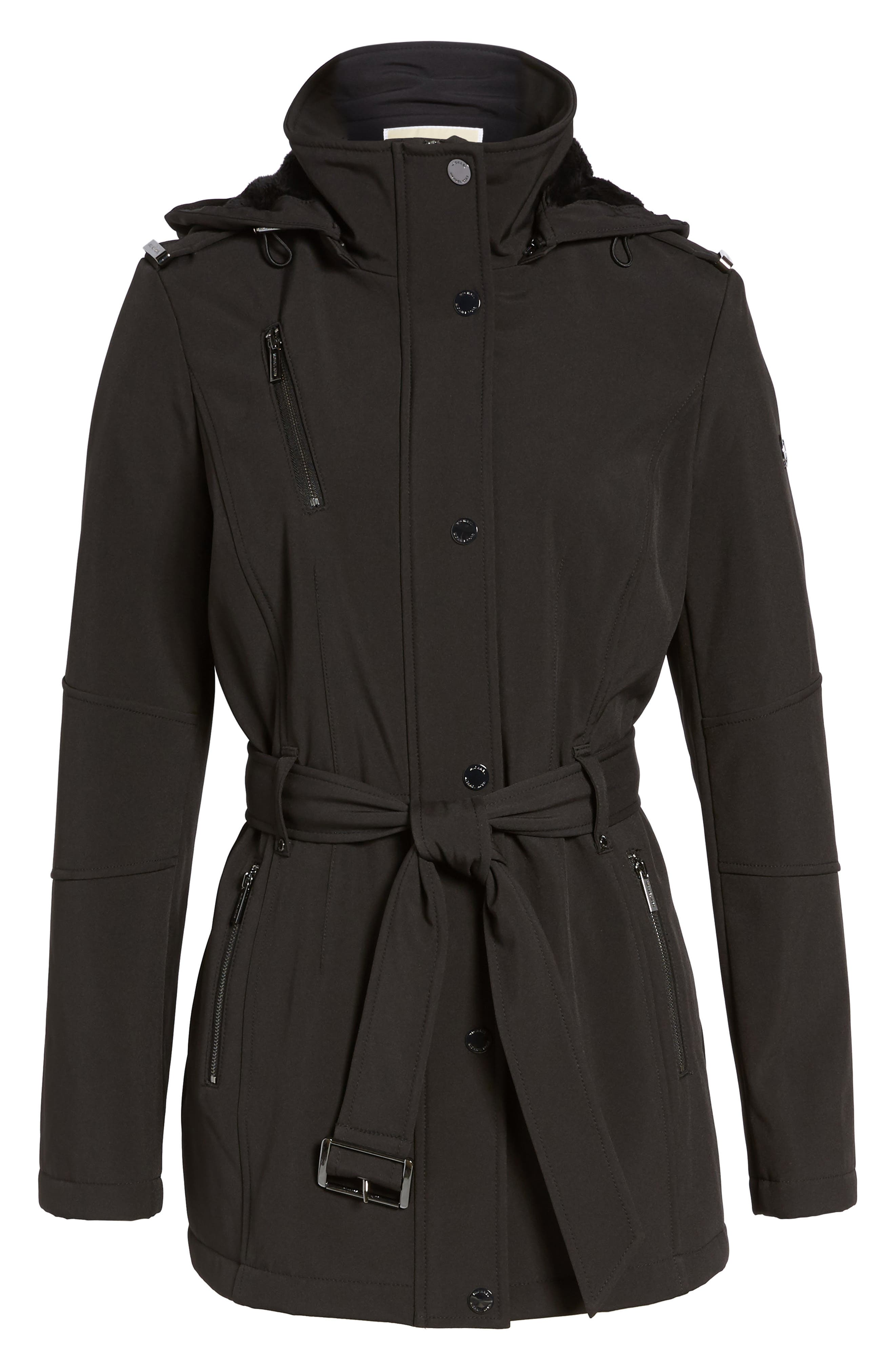Waterproof Belted Jacket with Detachable Hood,                             Alternate thumbnail 5, color,                             001
