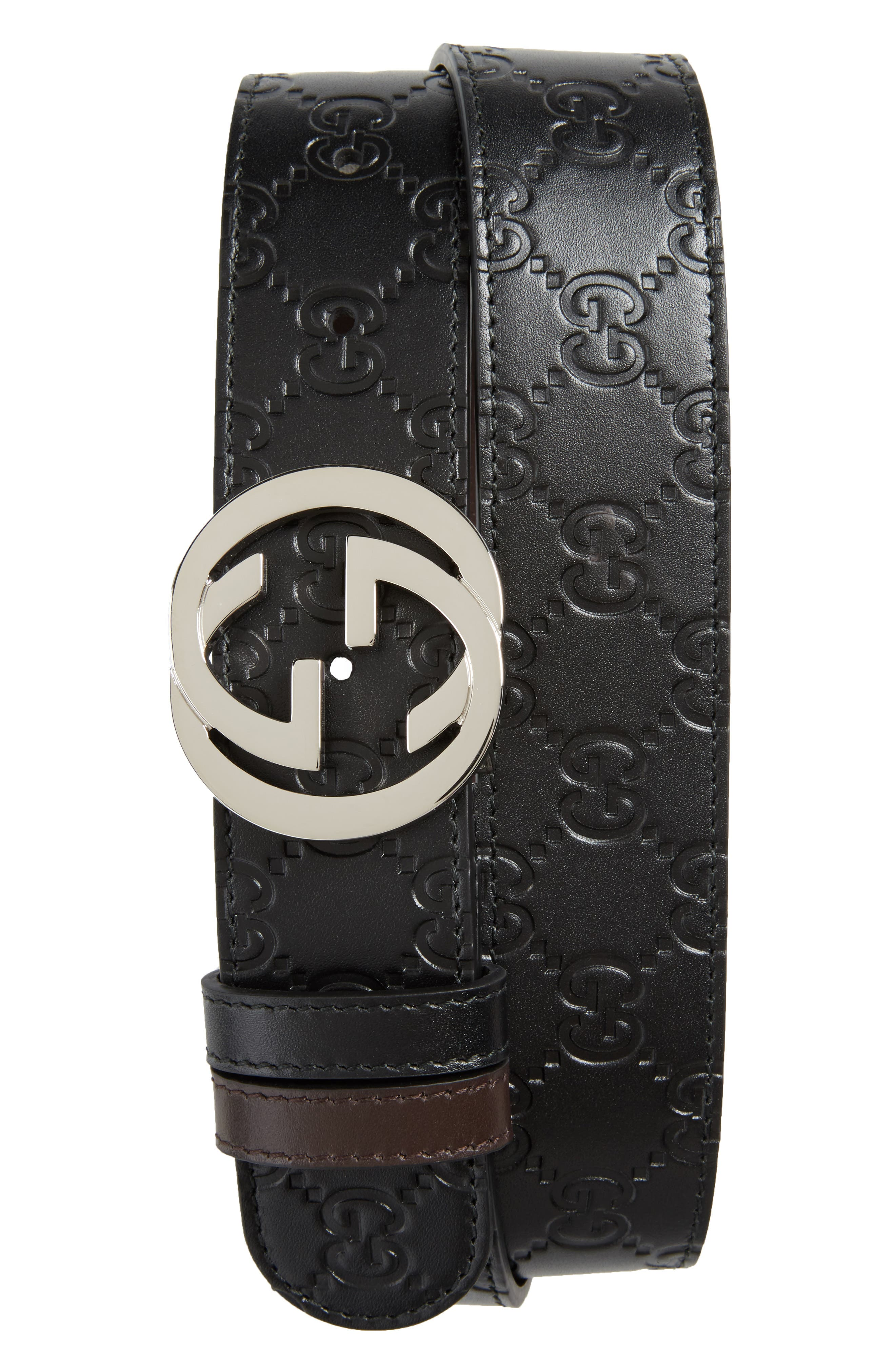 Logo Buckle Interlocking Leather Belt,                             Main thumbnail 1, color,                             241