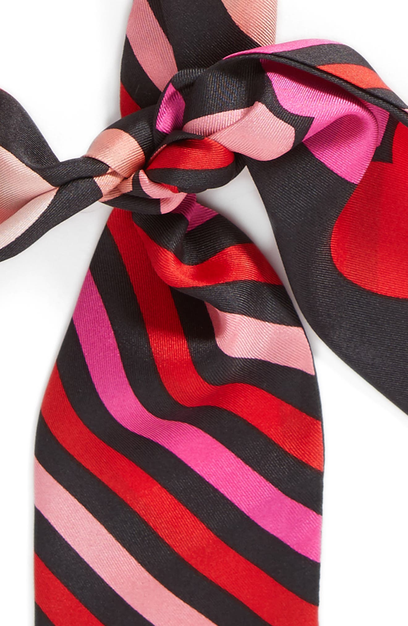 heart stripe silk skinny scarf,                             Alternate thumbnail 4, color,