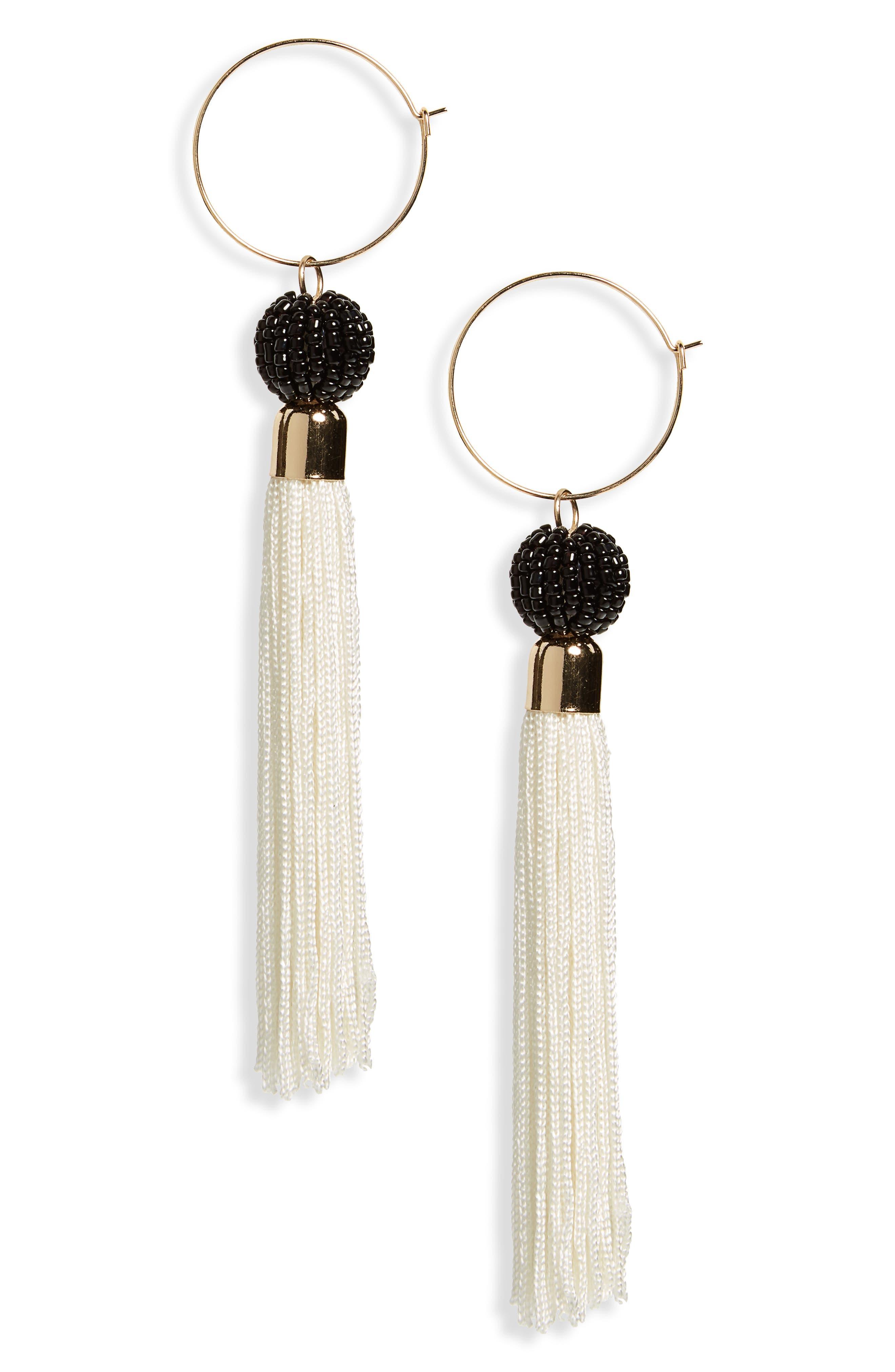 Tassel Hoop Earrings,                         Main,                         color, 260