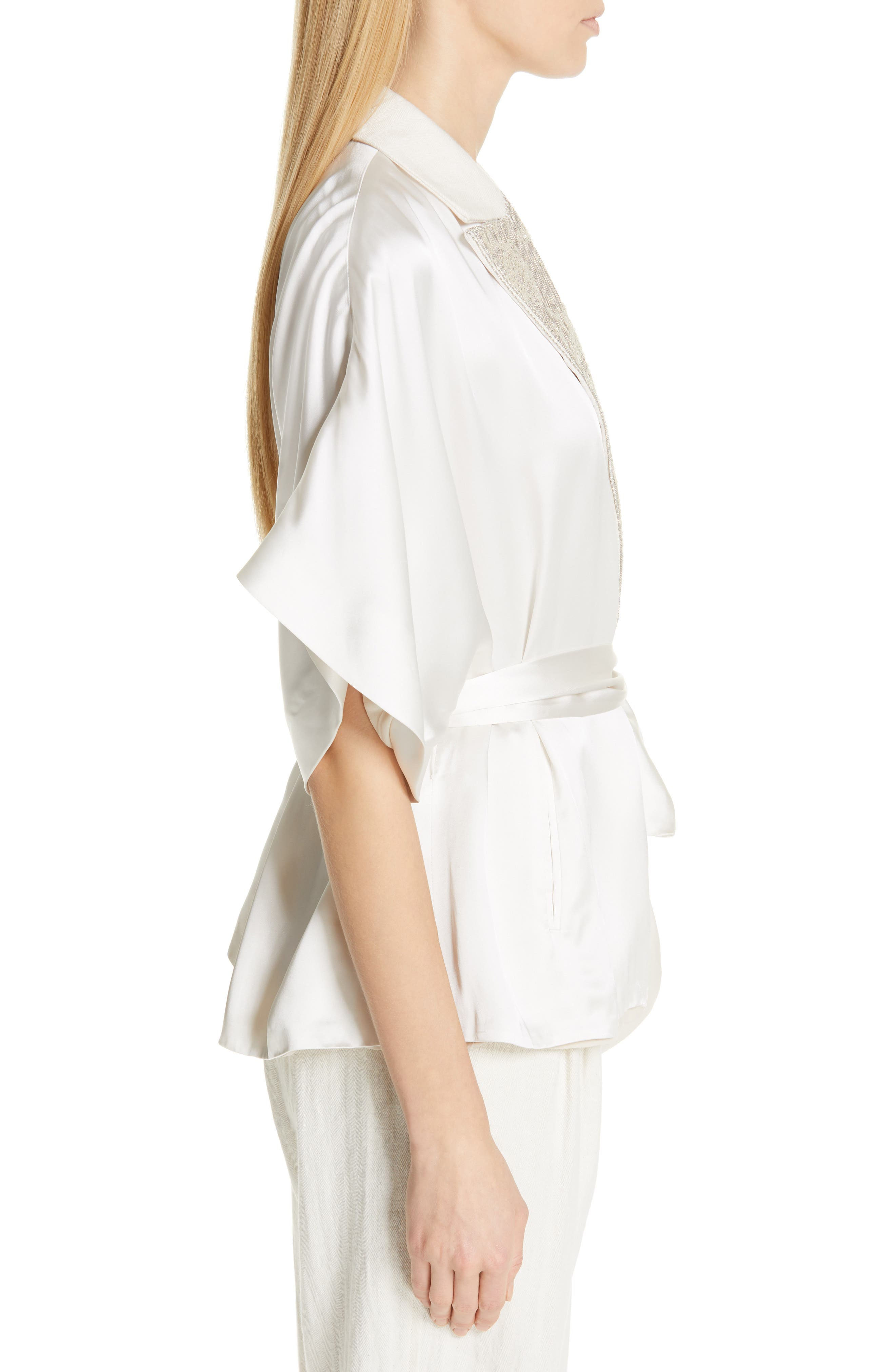 BRUNELLO CUCINELLI,                             Embellished Lapel Satin Kimono Jacket,                             Alternate thumbnail 3, color,                             BONE