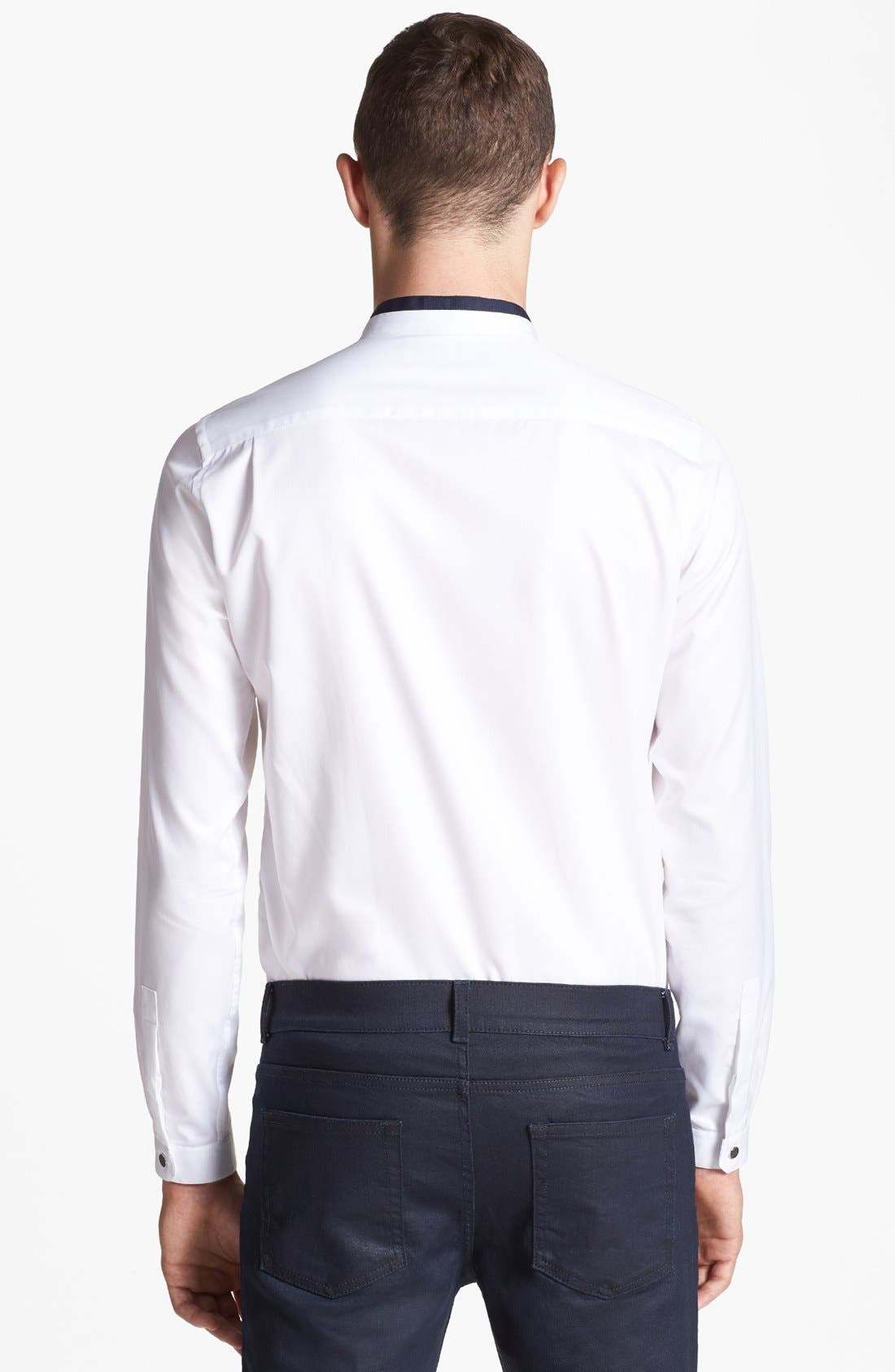 THE KOOPLES,                             Slim Fit Banded Collar Shirt,                             Alternate thumbnail 2, color,                             100