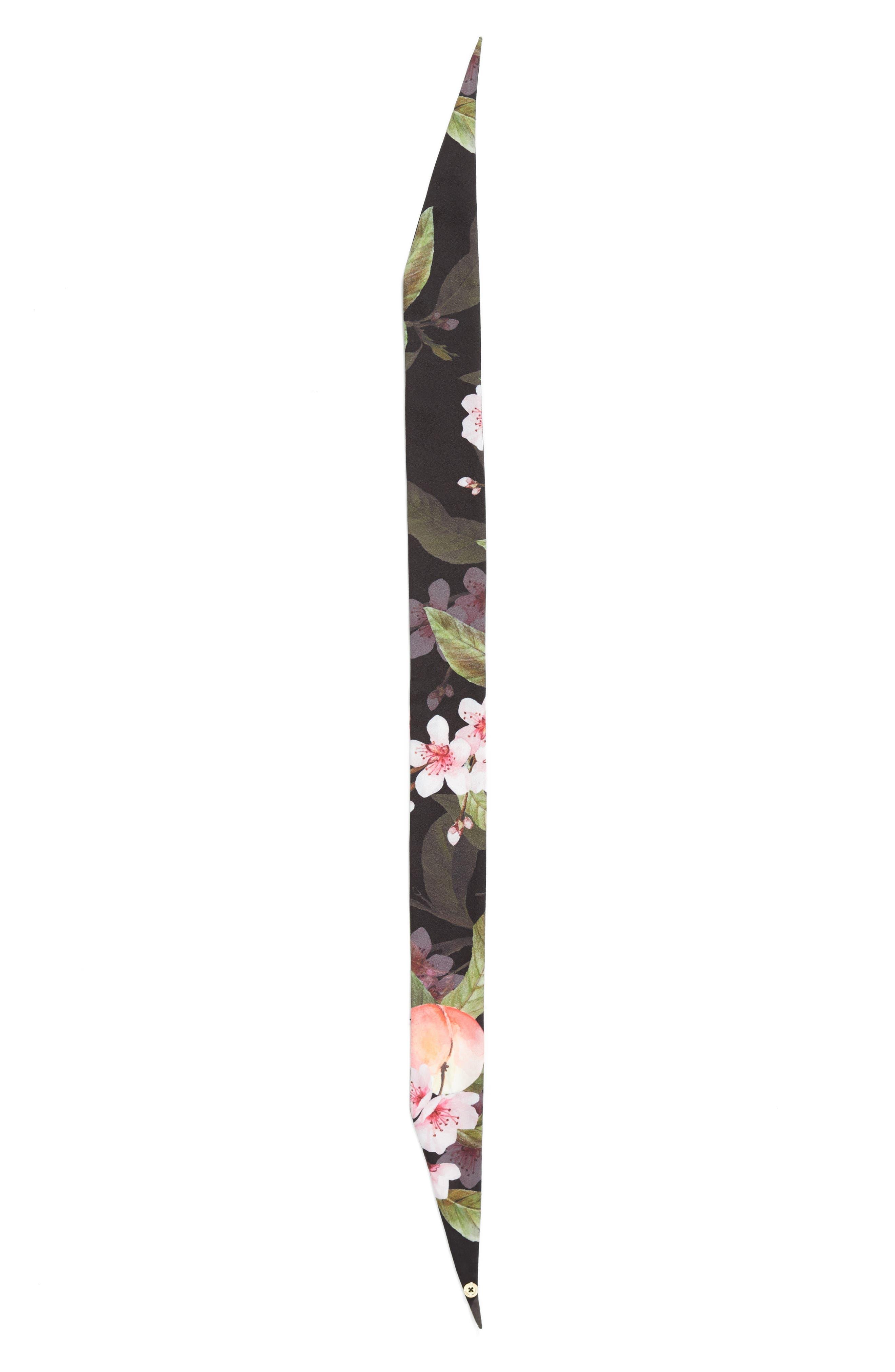 Peach Blossom Skinny Scarf,                             Alternate thumbnail 3, color,                             001