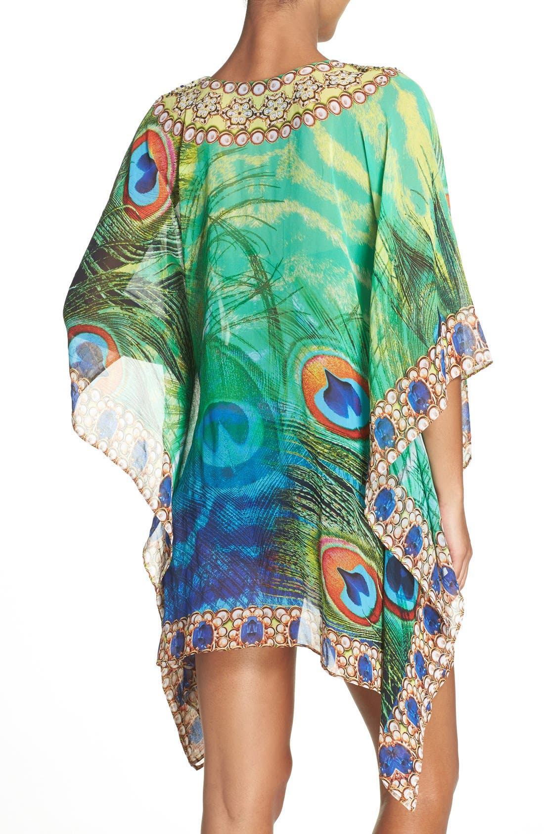 Kashmir Short Kaftan,                             Alternate thumbnail 2, color,                             GREEN