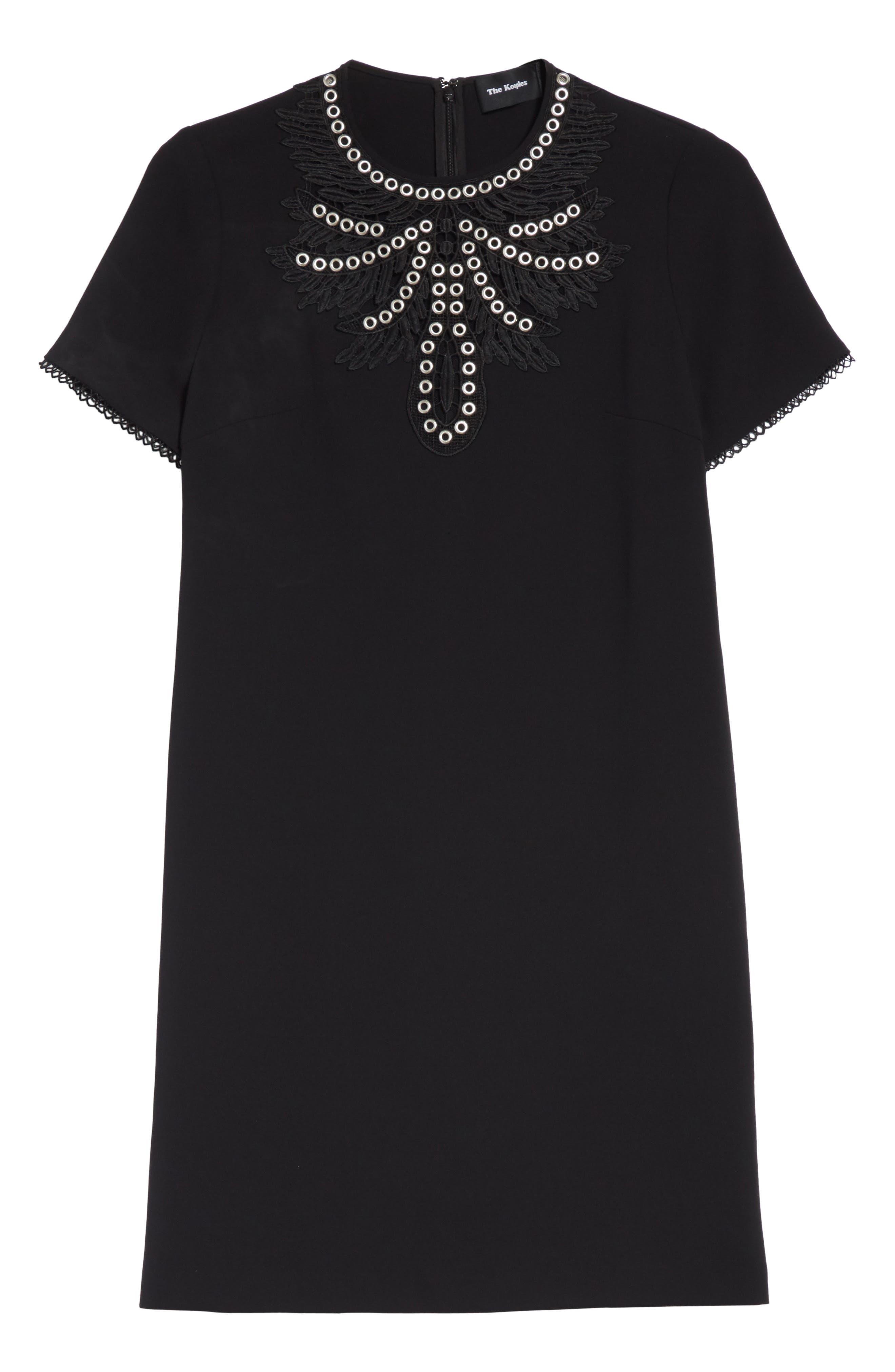 Embellished Crepe Dress,                             Alternate thumbnail 6, color,                             001