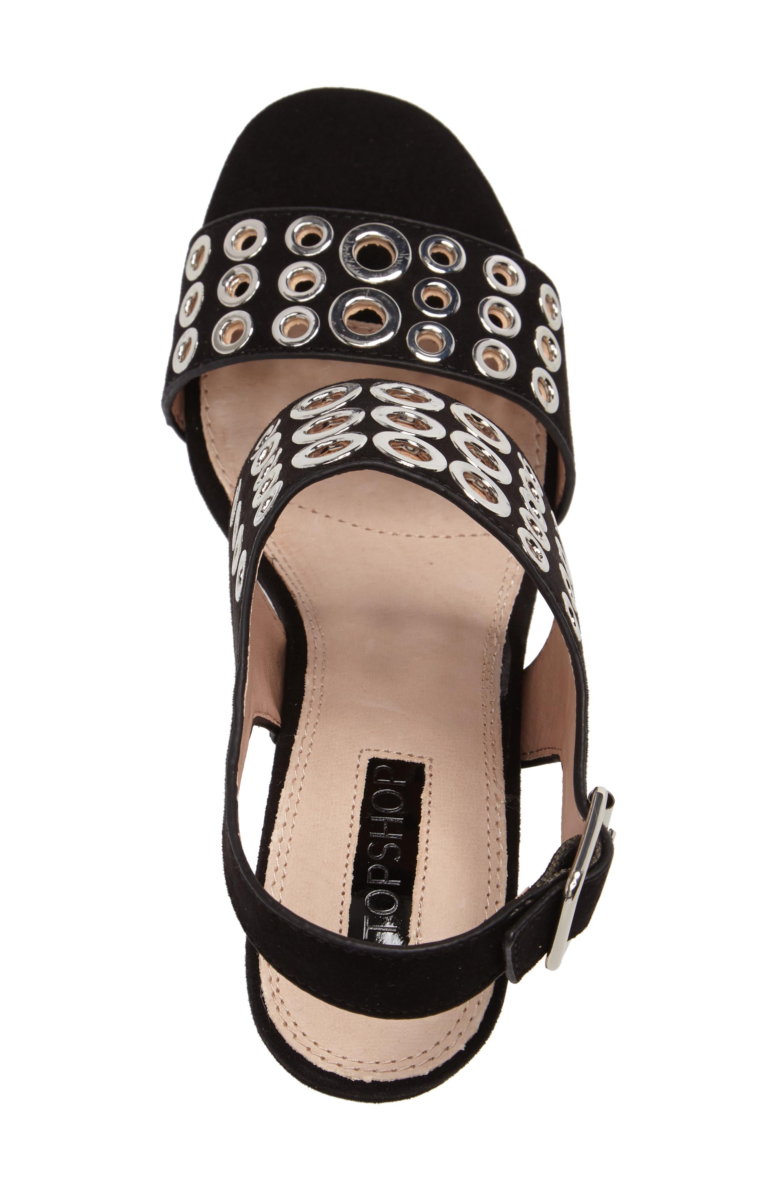 Nadia Rivet Block Heel Sandal,                             Alternate thumbnail 5, color,                             001