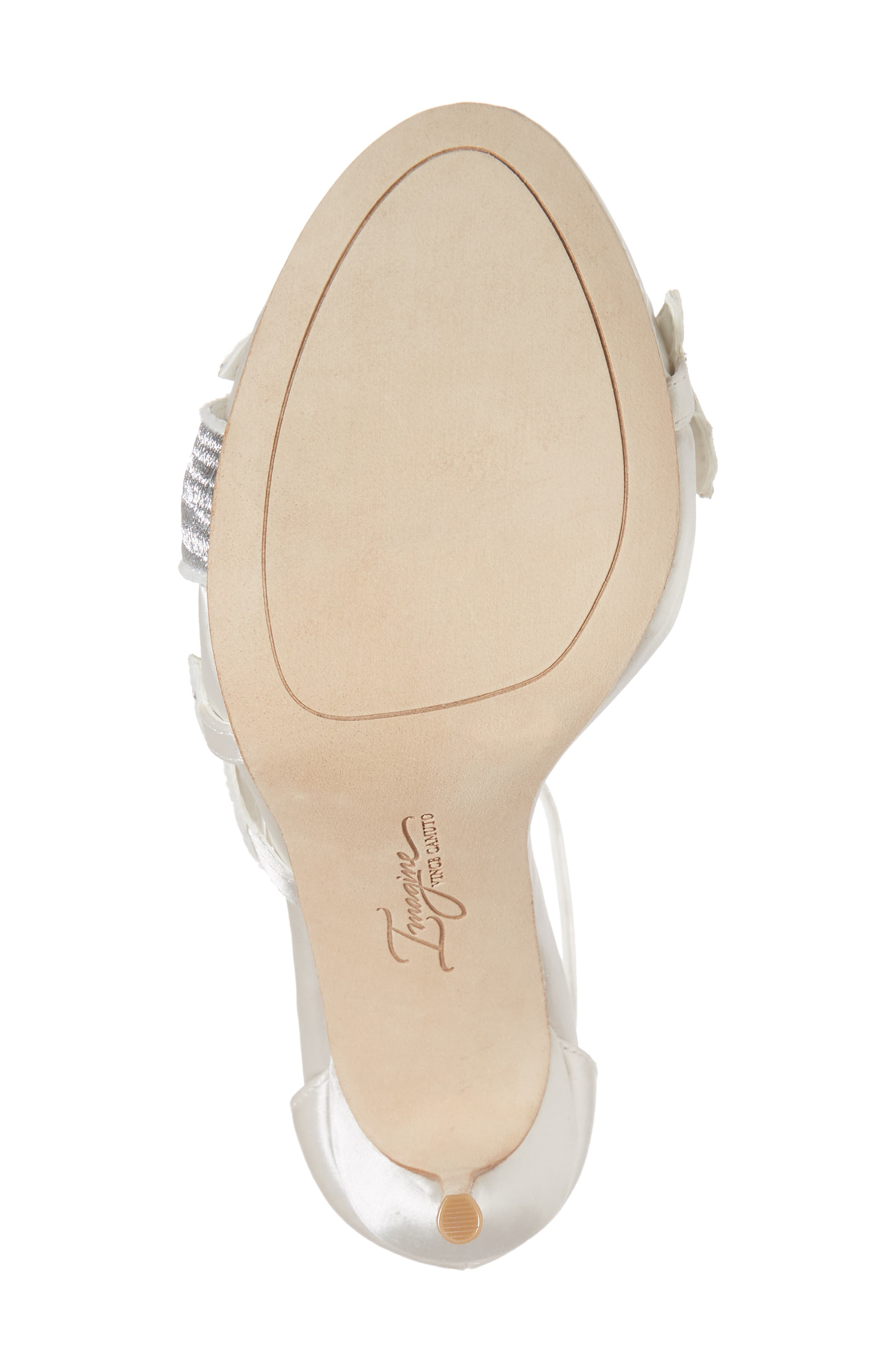 Imagine Vince Camuto Dayanara Embellished Sandal,                             Alternate thumbnail 6, color,                             PURE WHITE SATIN