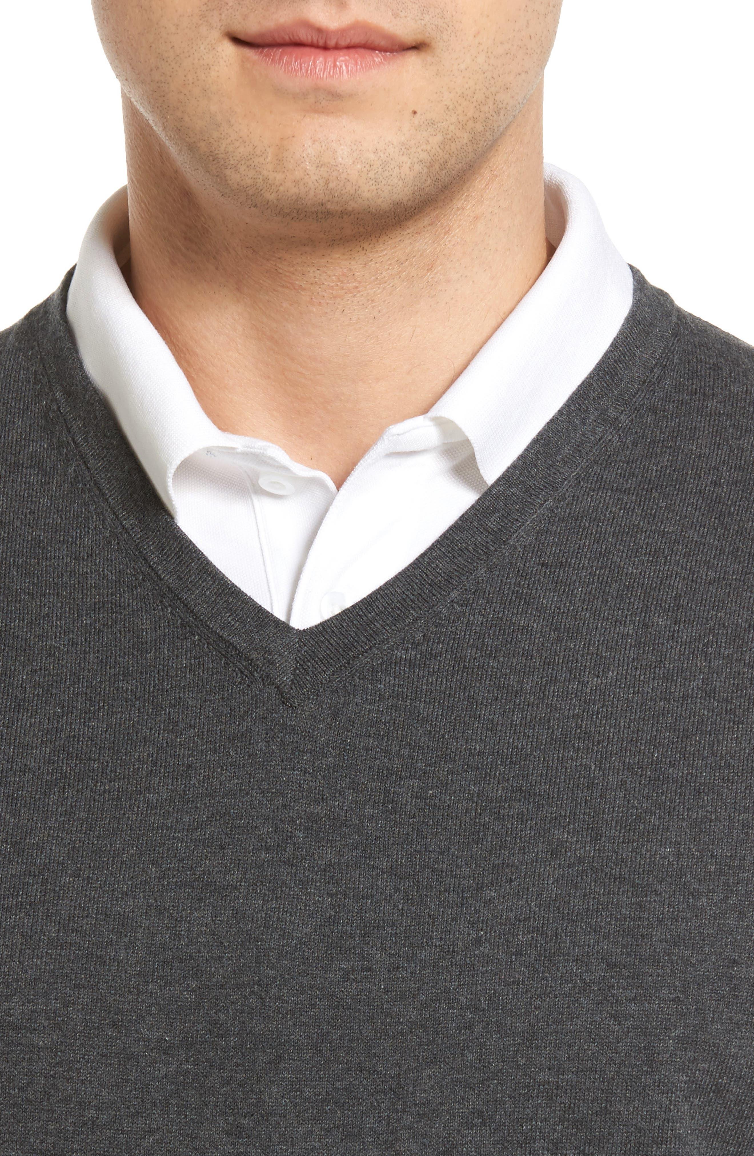 Lakemont V-Neck Sweater Vest,                             Alternate thumbnail 4, color,                             CHARCOAL HEATHER