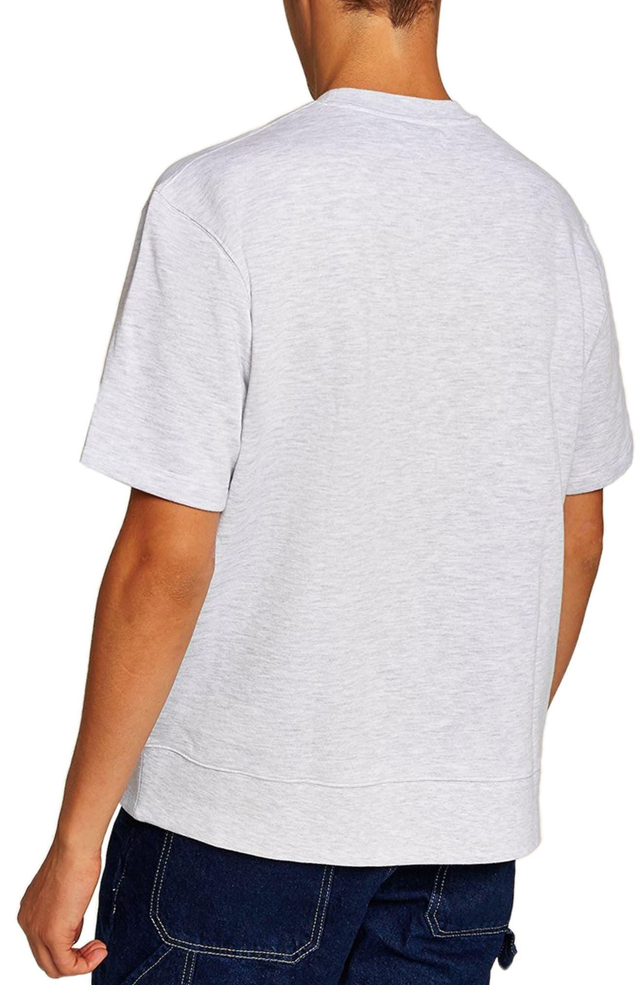 Short Sleeve Crewneck Sweatshirt,                             Alternate thumbnail 2, color,                             LIGHT GREY