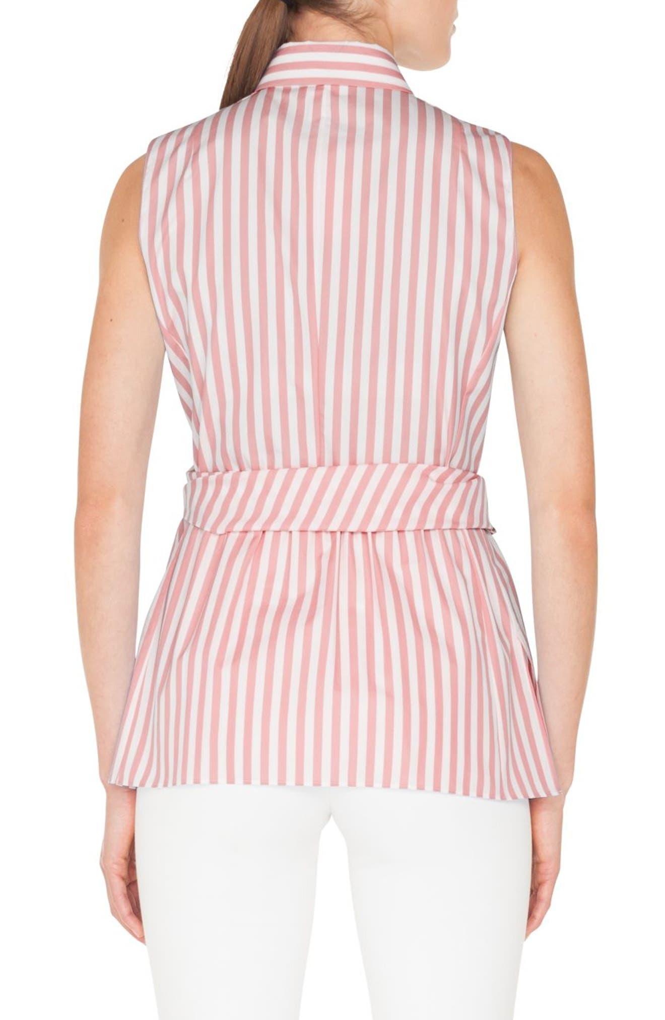 Stripe Cotton Wrap Blouse,                             Alternate thumbnail 2, color,                             PEONY - CREAM