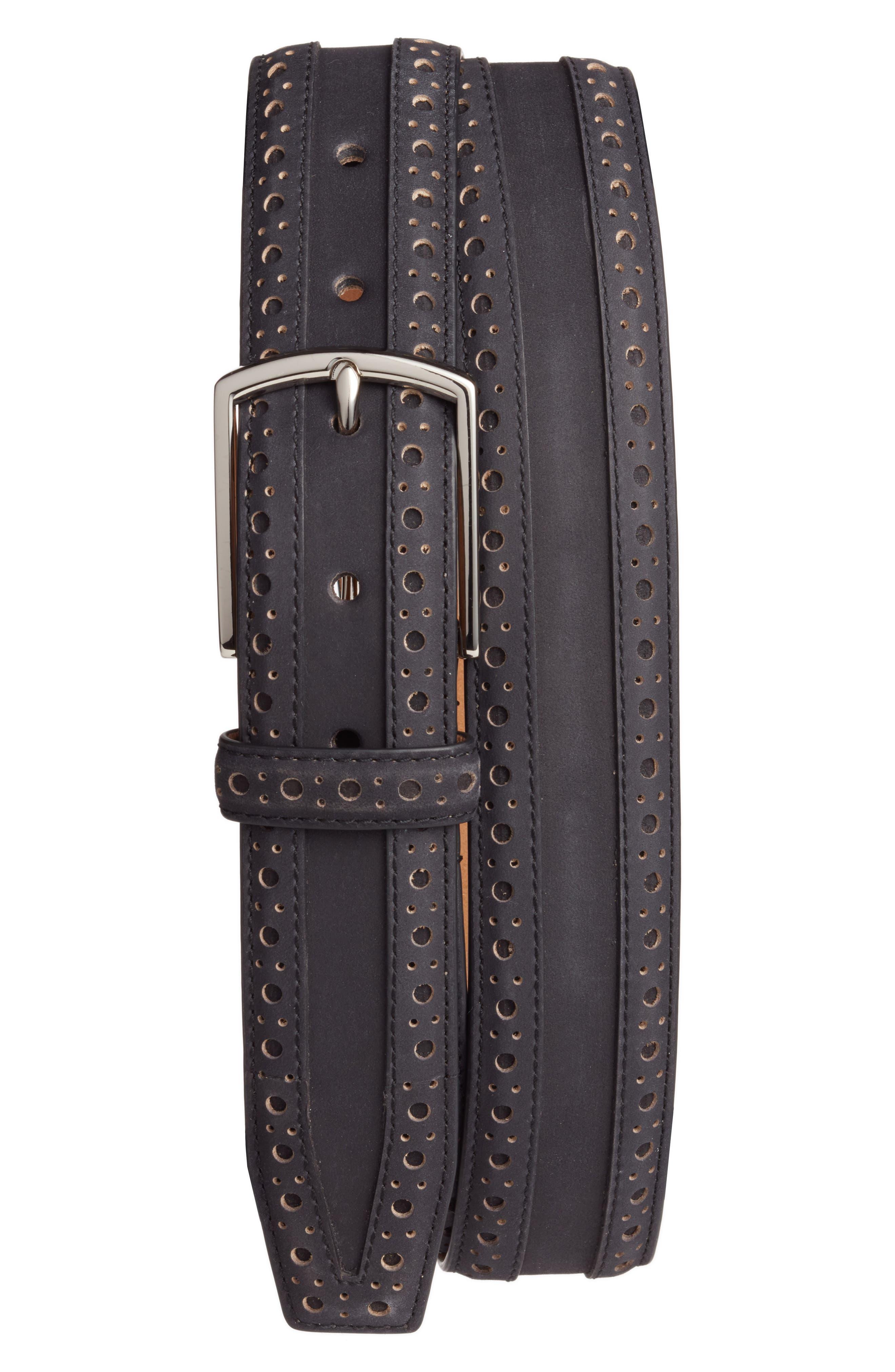 COLE HAAN Brogue Nubuck Leather Belt, Main, color, 001