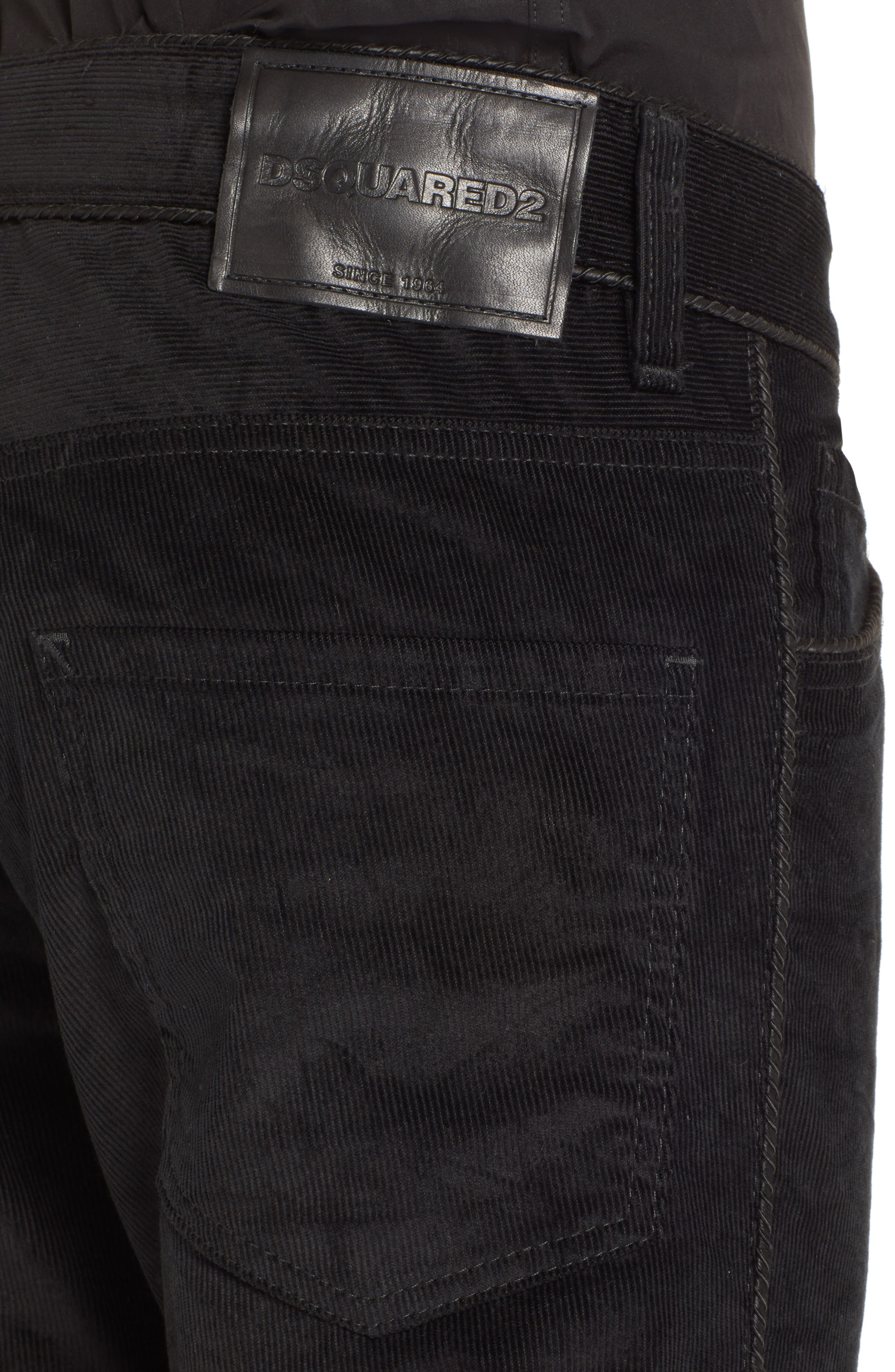 Skinny Straight Leg Corduroy Pants,                             Alternate thumbnail 4, color,                             BLACK