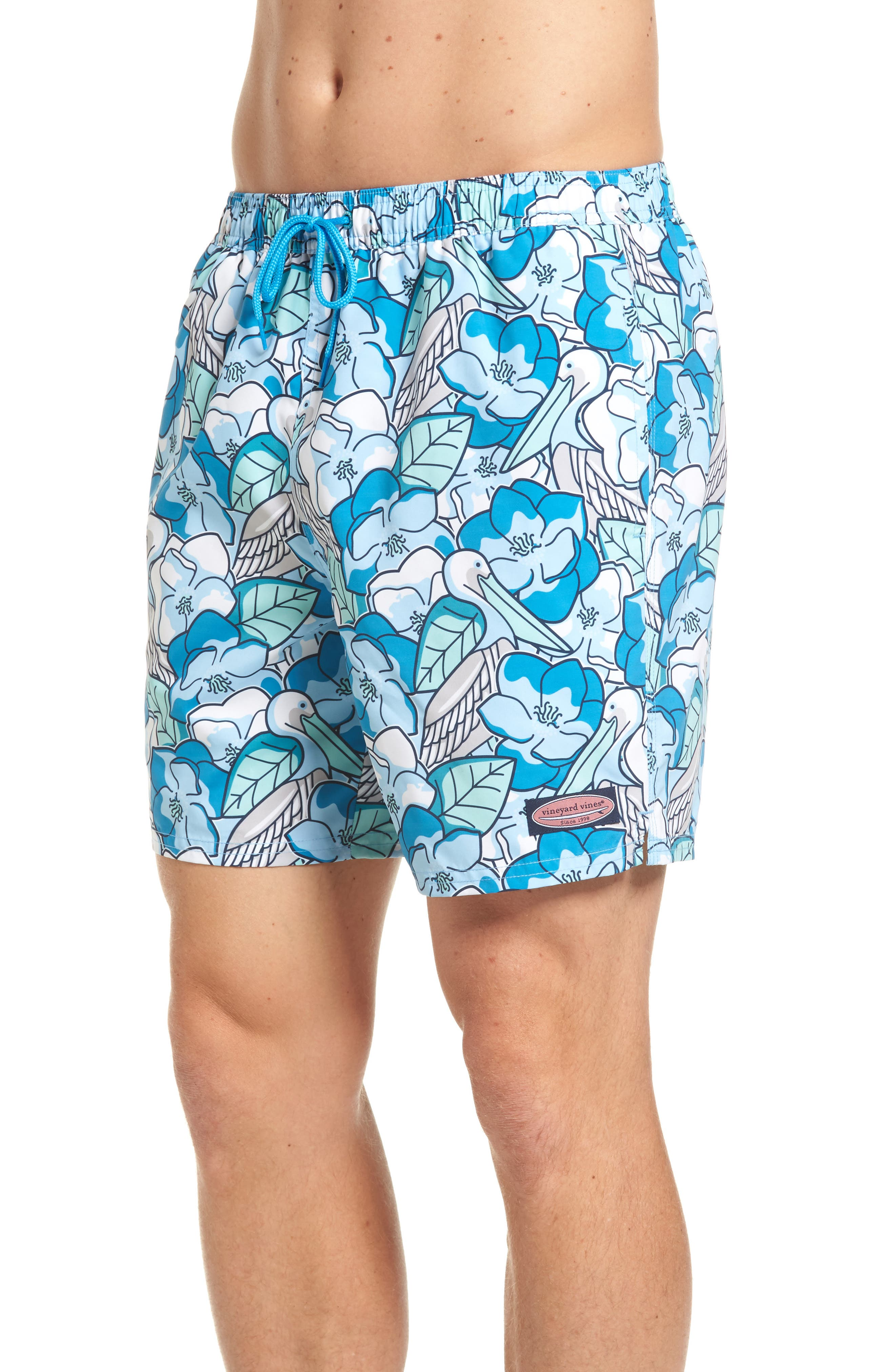 Pelican Magnolias Chappy Swim Trunks,                             Alternate thumbnail 3, color,                             413