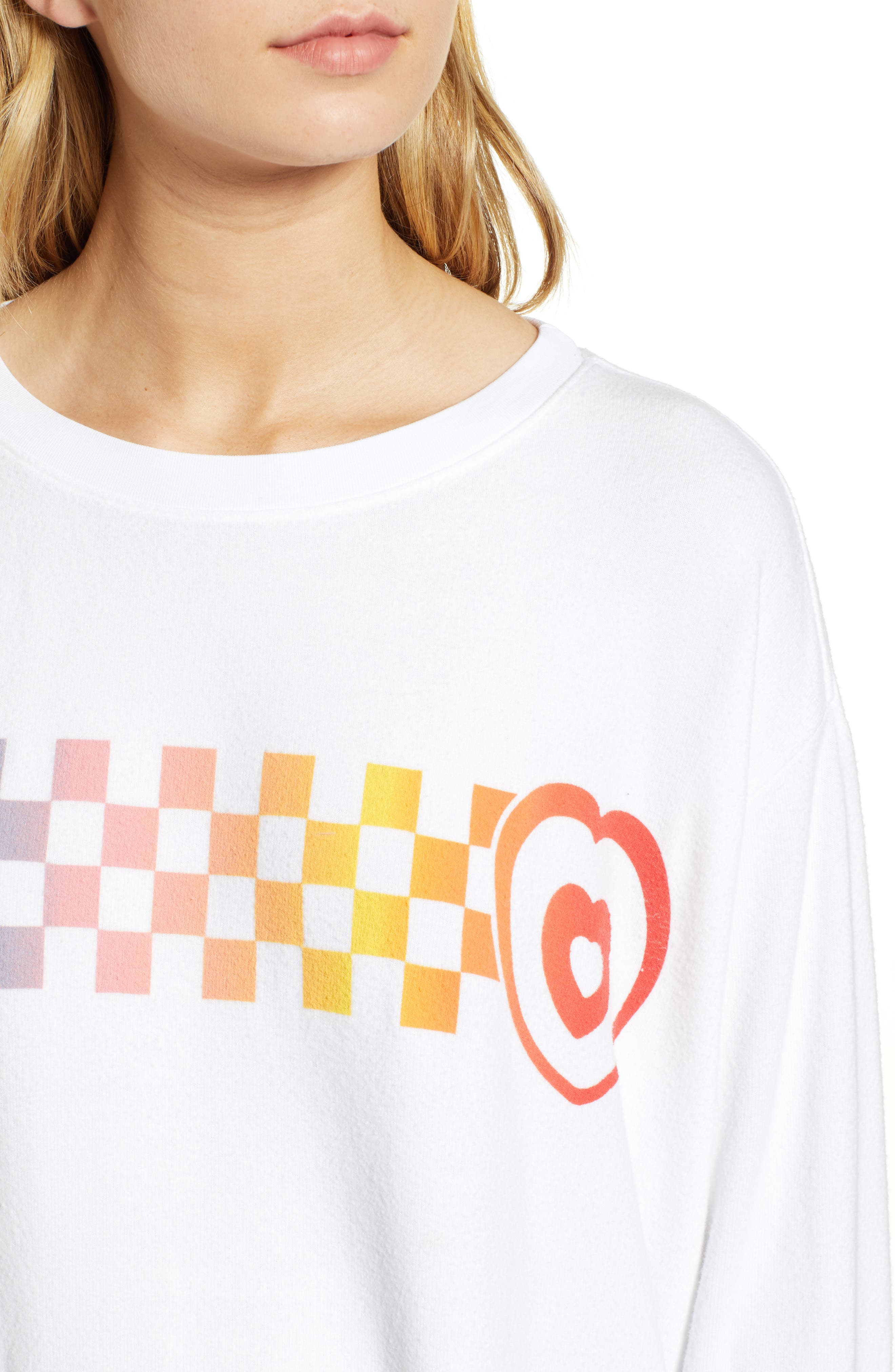 Roadtrip - Racer Check Sweatshirt,                             Alternate thumbnail 4, color,                             CLEAN WHITE