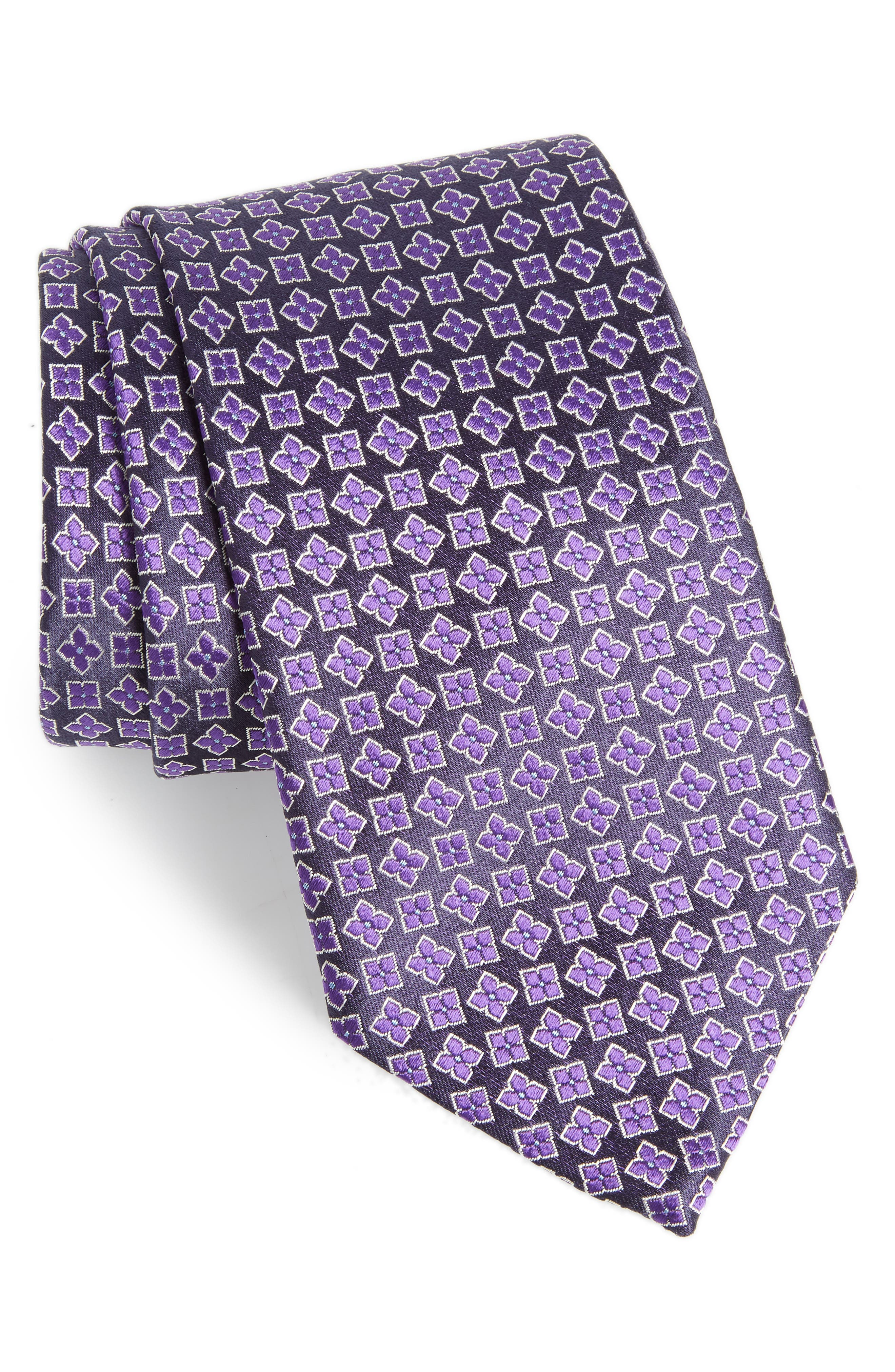 Neat Floral Silk Tie,                             Main thumbnail 2, color,