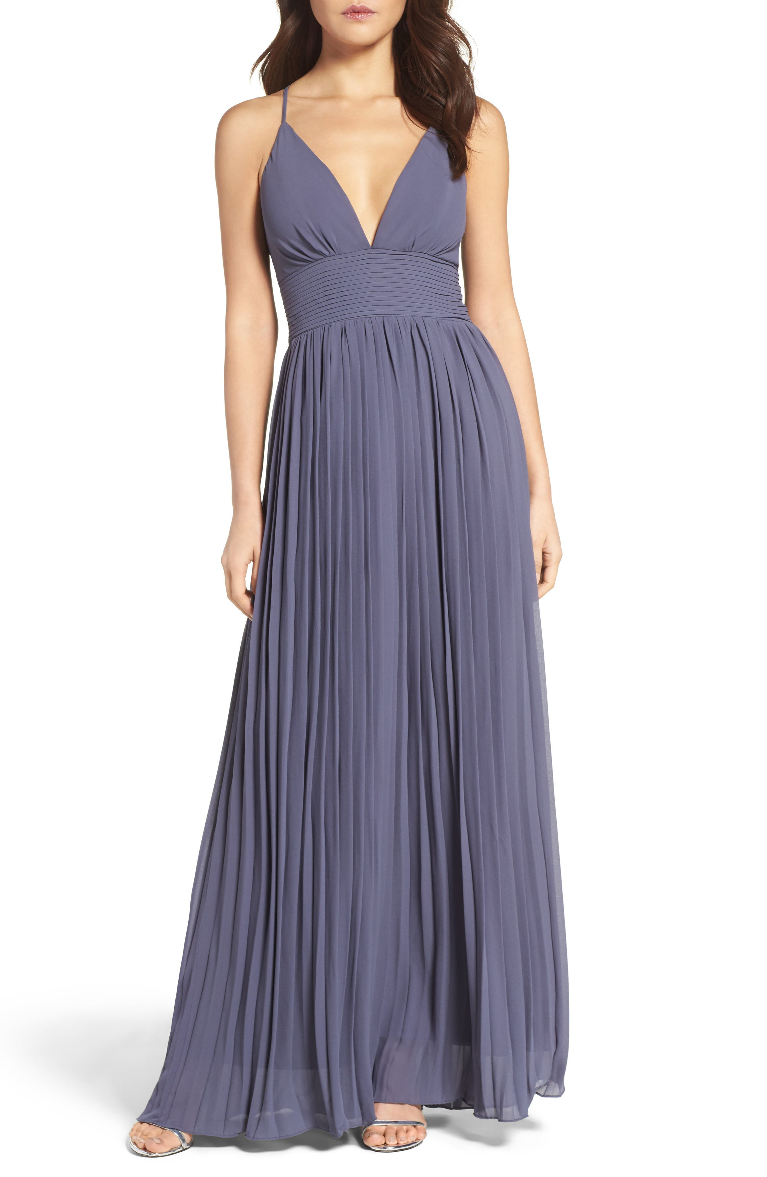Plunging V-Neck Pleat Georgette Gown,                             Main thumbnail 5, color,