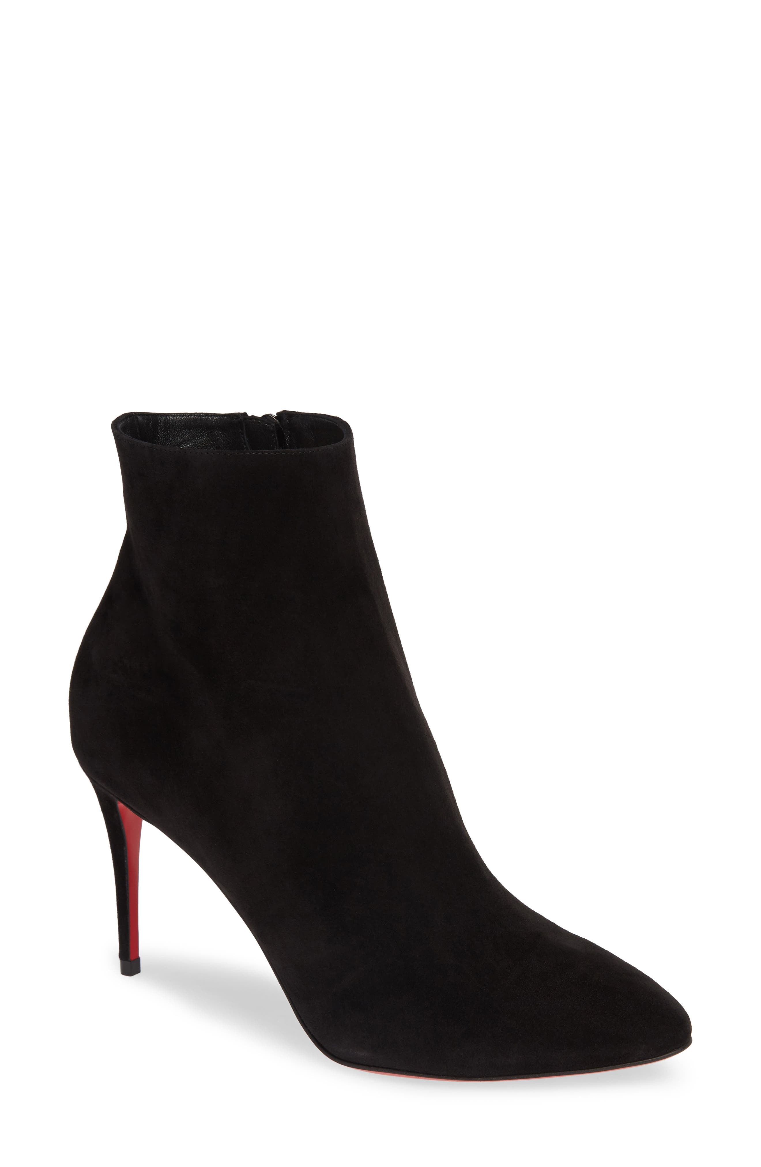 Eloise Pointy Toe Bootie,                             Main thumbnail 1, color,                             BLACK SUEDE