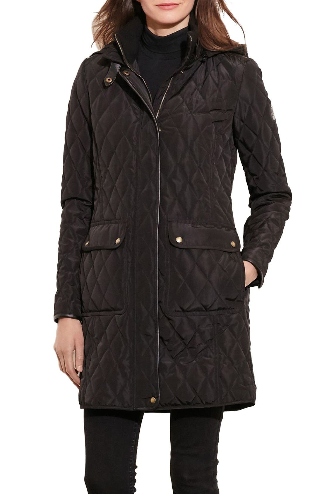 Diamond Quilted Coat with Faux Leather Trim,                             Main thumbnail 2, color,