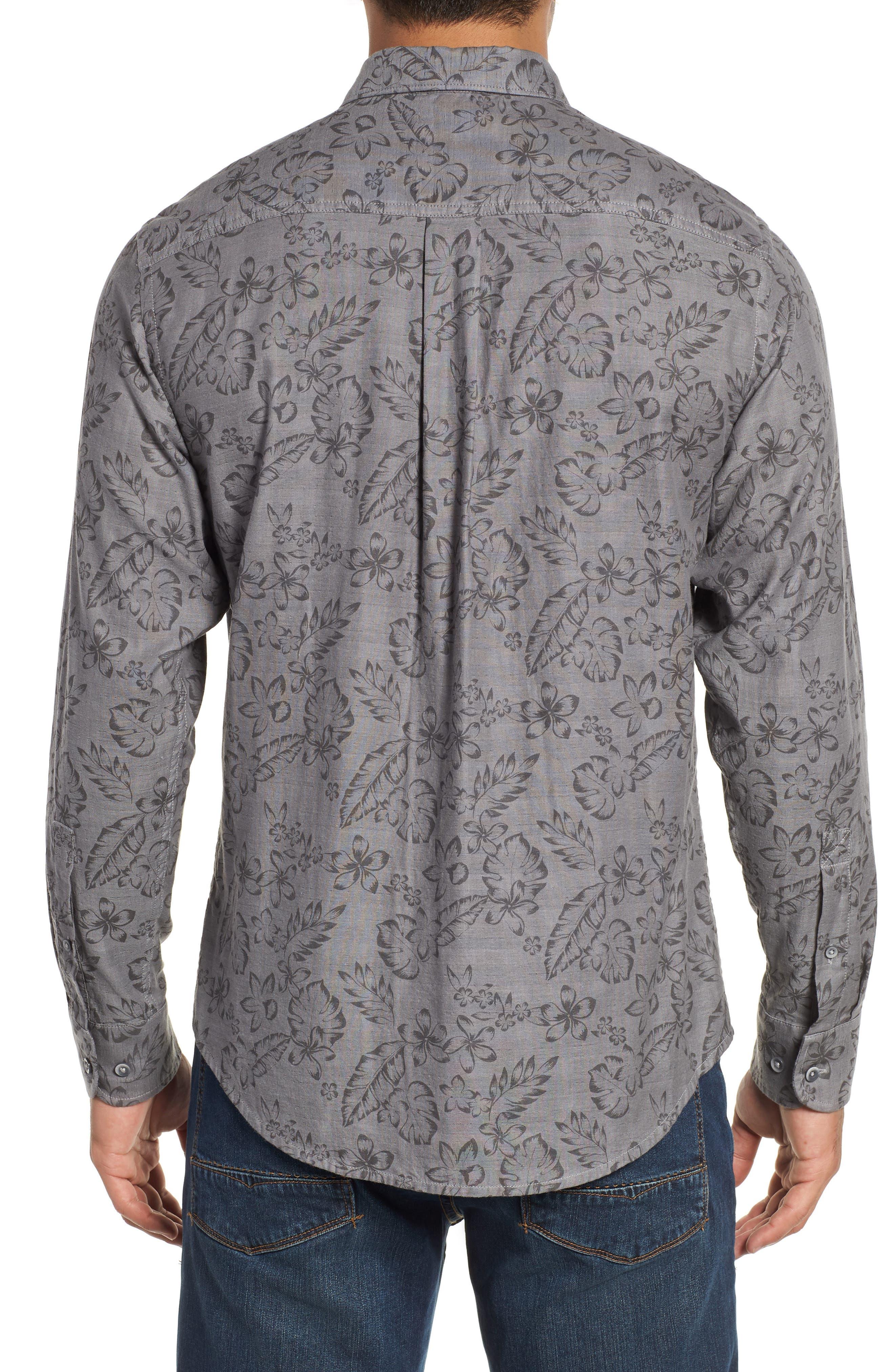 Check Back Regular Fit Tropical Shirt,                             Alternate thumbnail 3, color,                             ARGENT