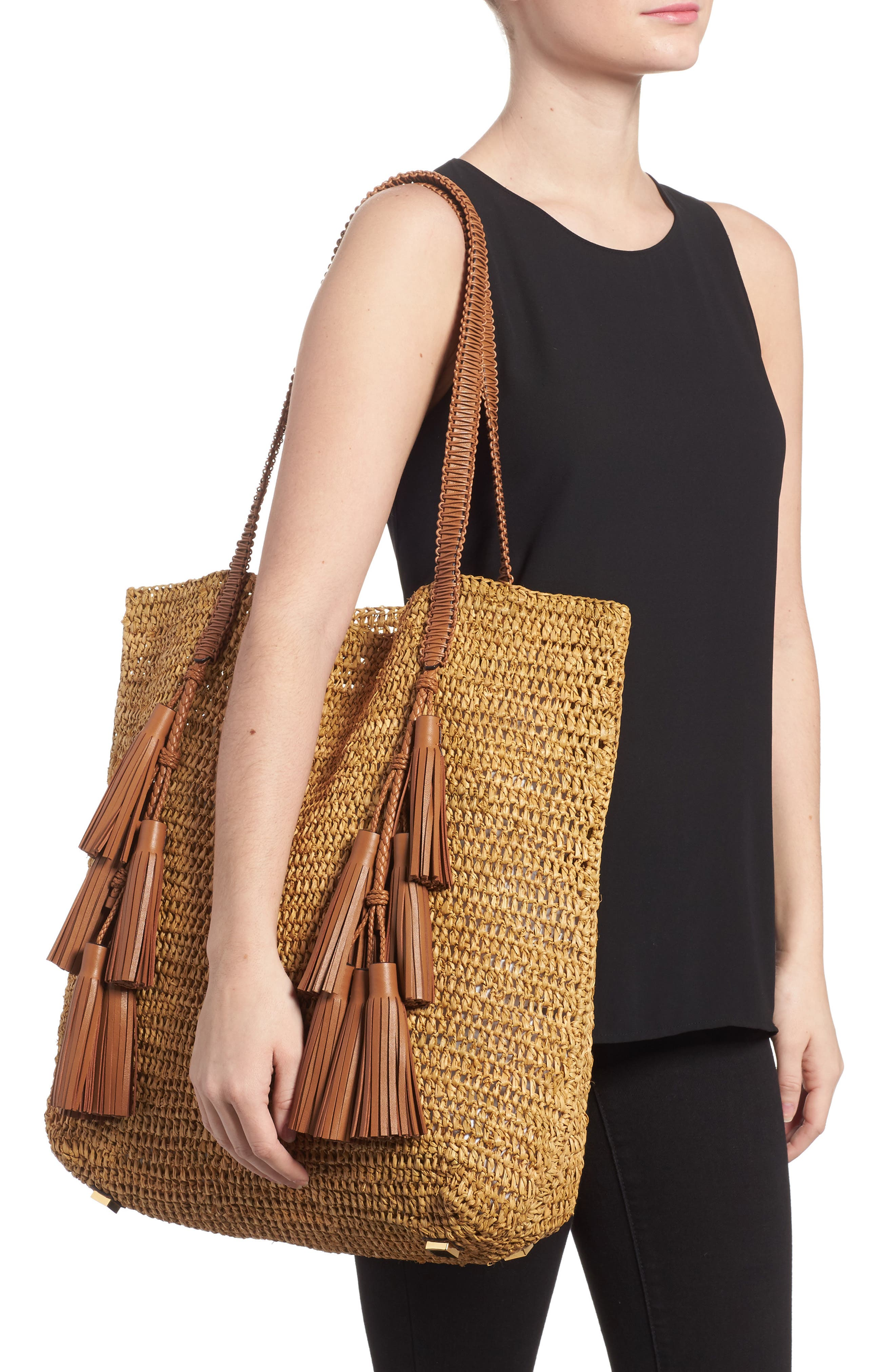 Skorpios Tassel Woven Straw Tote,                             Alternate thumbnail 2, color,                             201