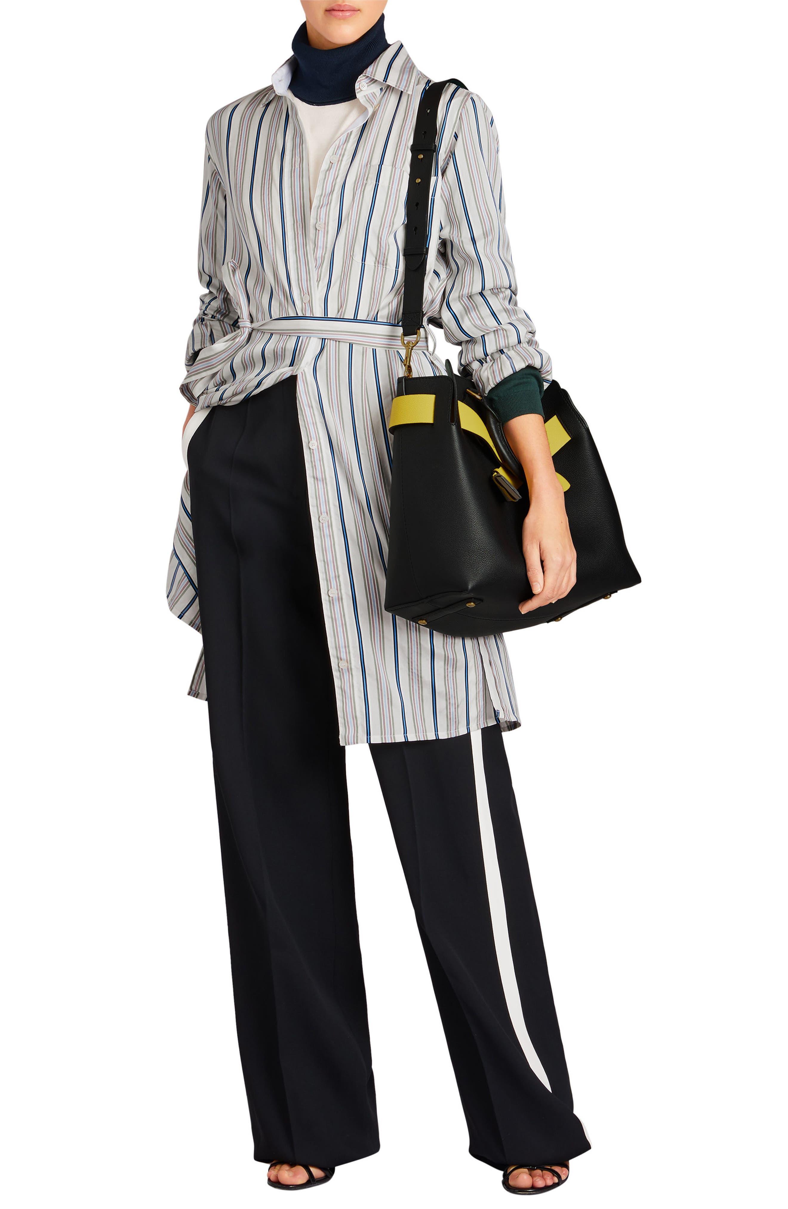 Medium Belt Bag Leather Tote,                             Alternate thumbnail 7, color,                             001