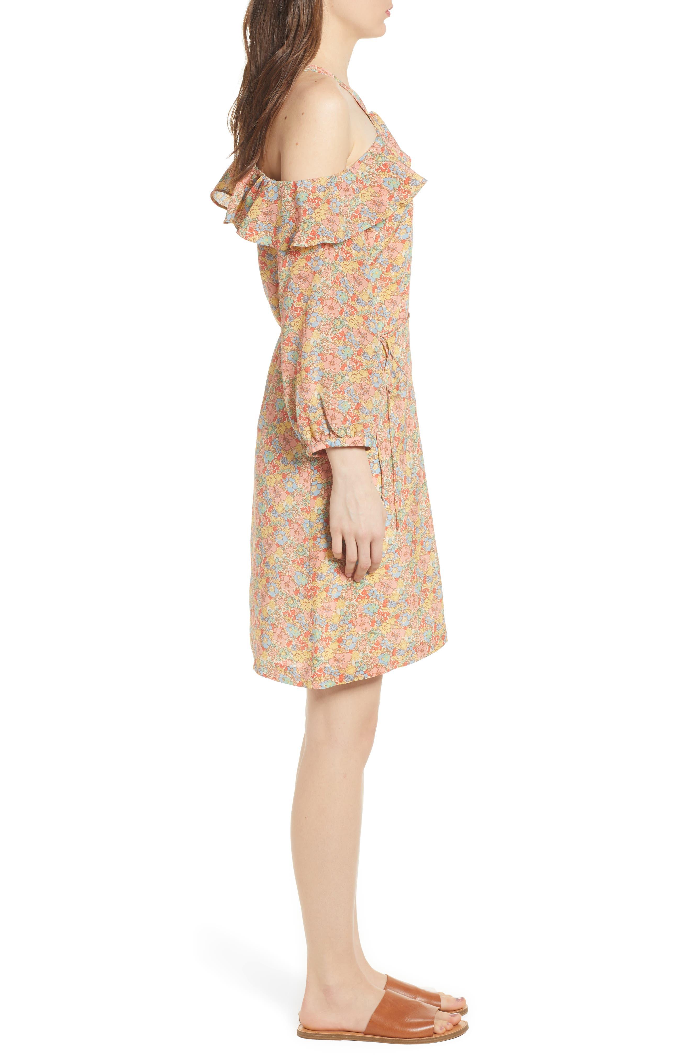 Forsythia Cold Shoulder Silk Dress,                             Alternate thumbnail 3, color,                             650